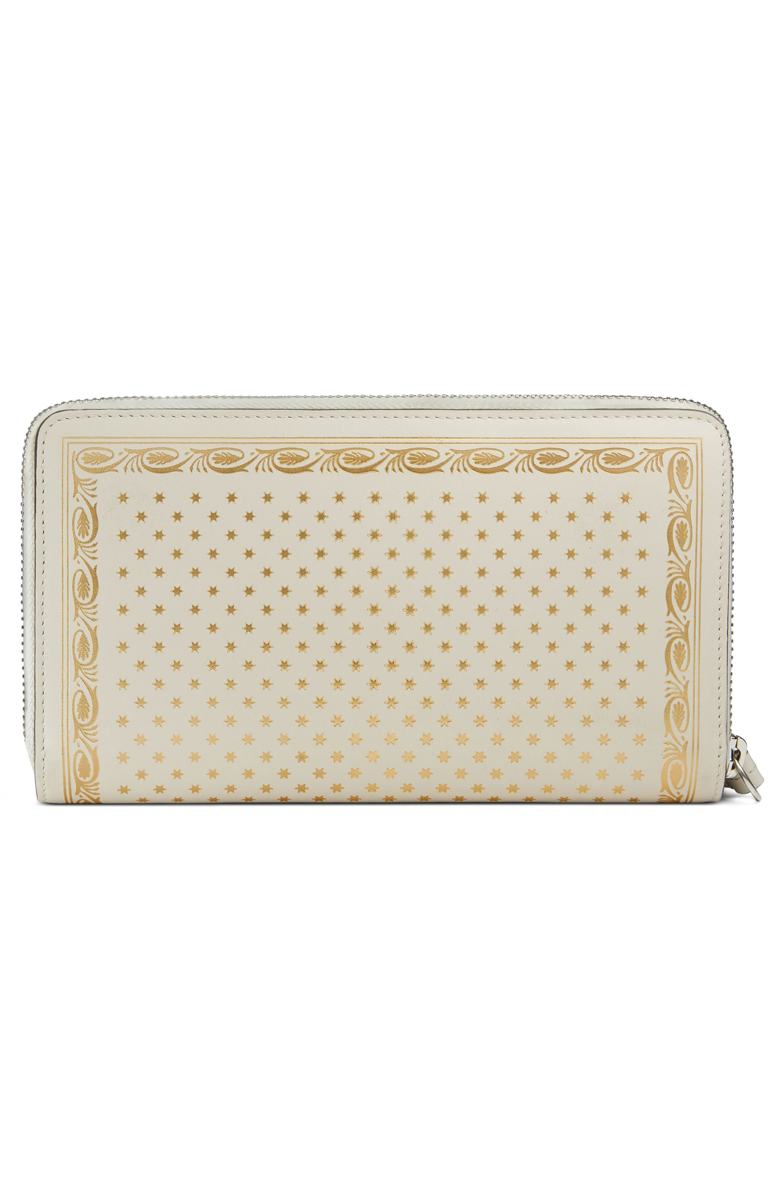 Guccy Logo Moon & Stars Leather Zip Wallet,                             Alternate thumbnail 3, color,                             MYSTIC WHITE/ ORO