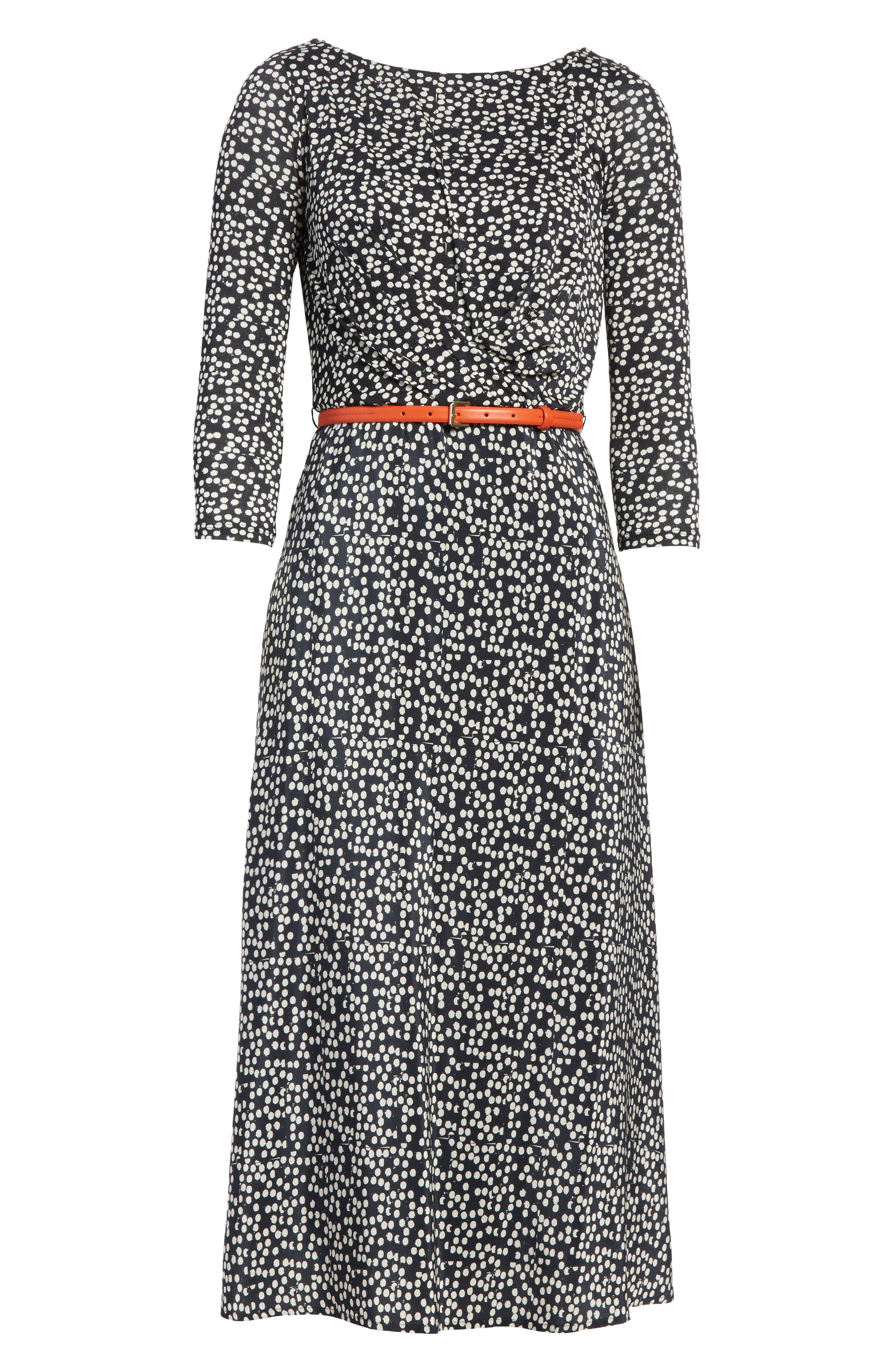 Peter Dot Print Midi Dress,                             Alternate thumbnail 6, color,                             001