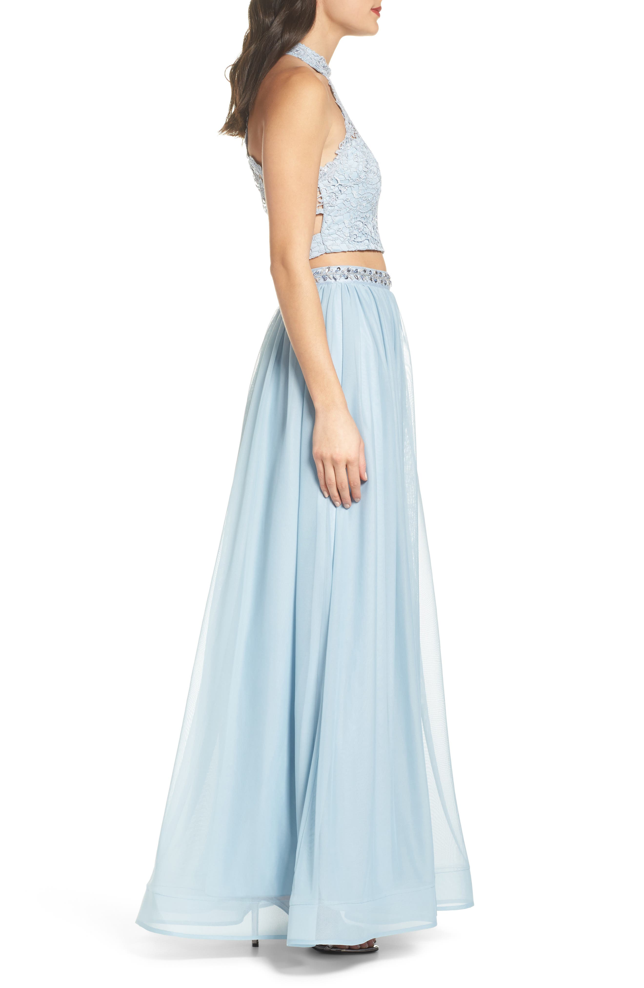 Chemical Lace Two-Piece Halter Gown,                             Alternate thumbnail 3, color,