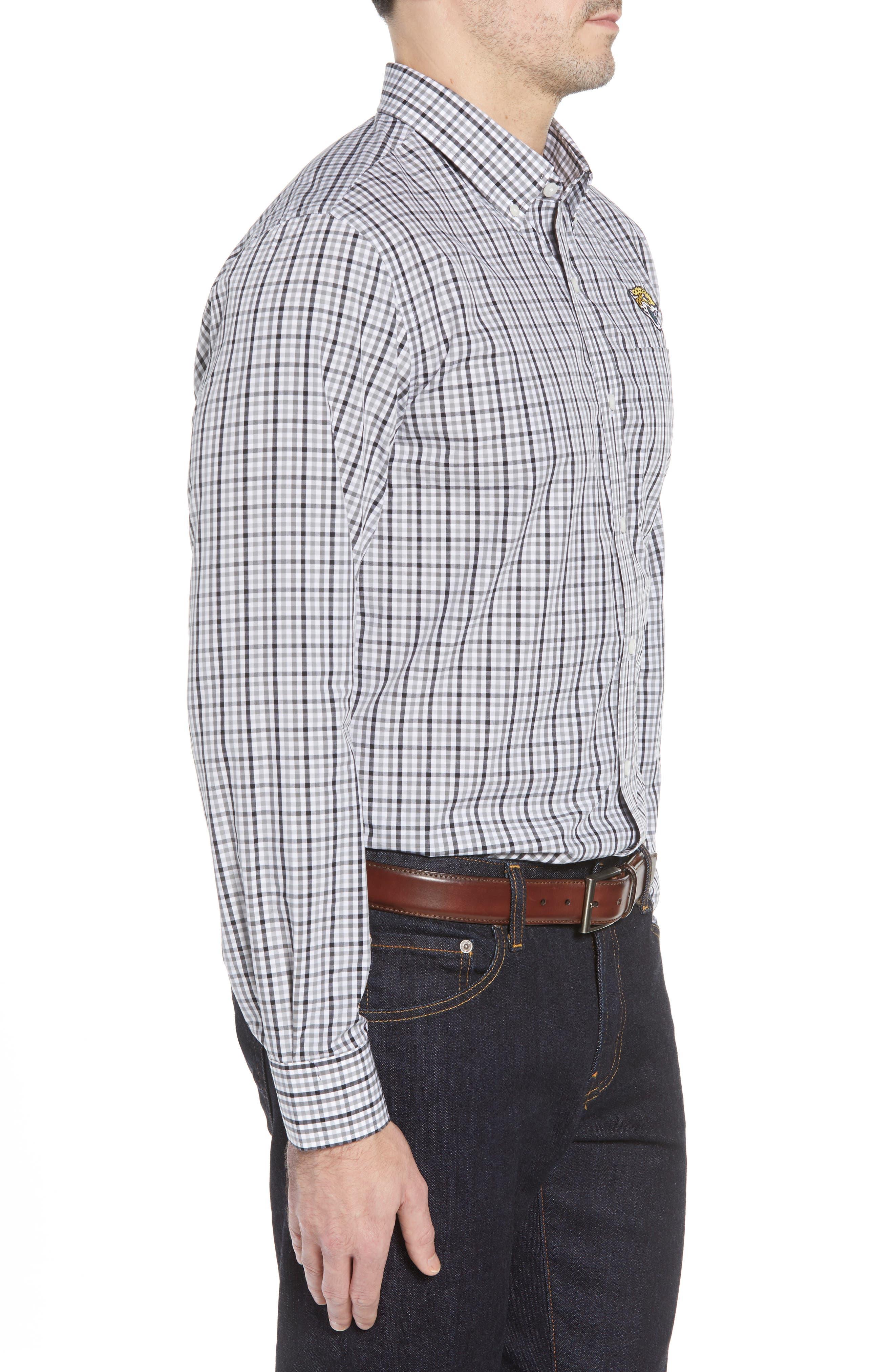 Jacksonville Jaguars - Gilman Regular Fit Plaid Sport Shirt,                             Alternate thumbnail 3, color,                             BLACK