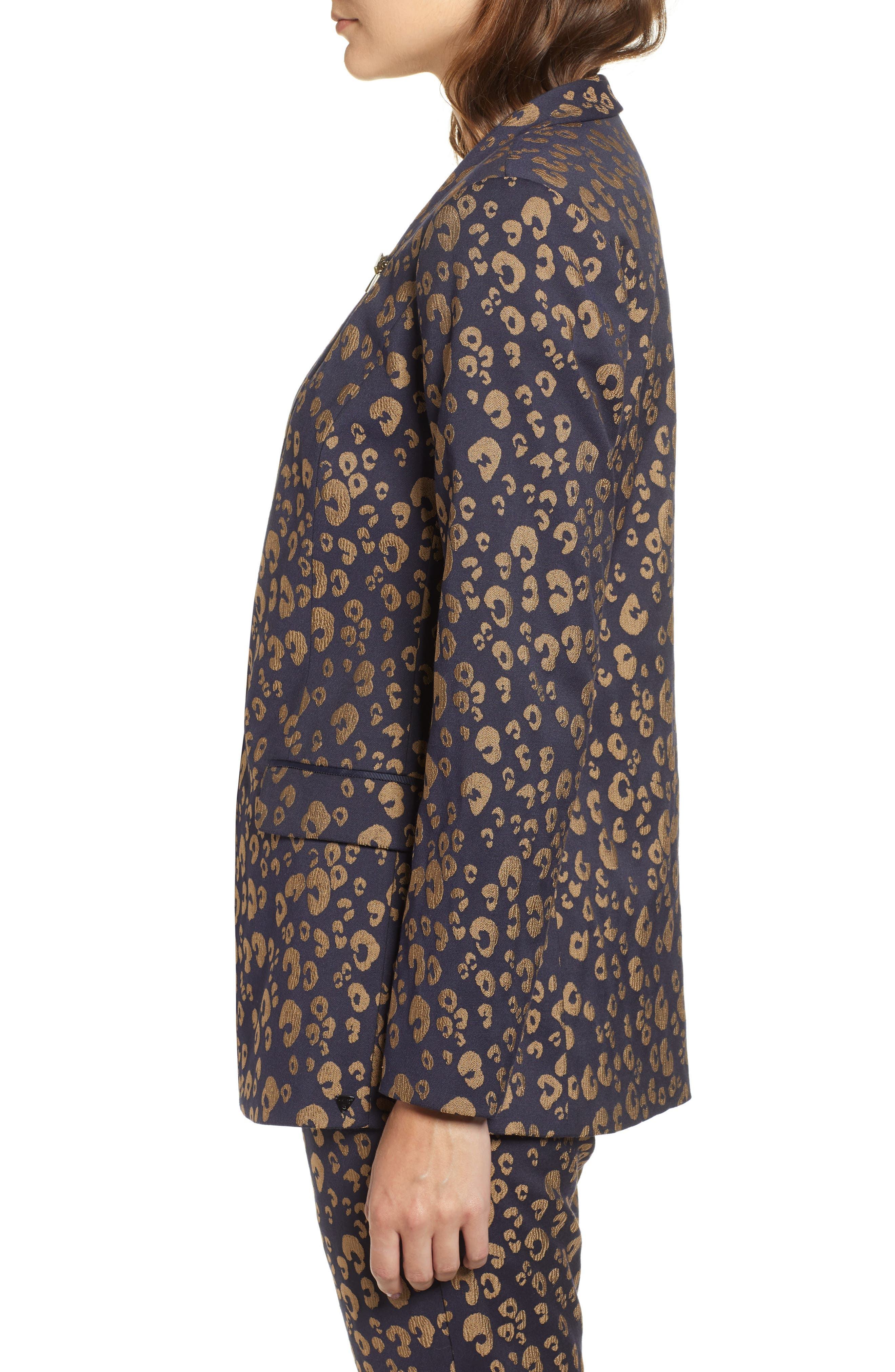 Stretch Jacquard Tailored Blazer,                             Alternate thumbnail 3, color,                             NAVY W/ GOLD LEOPARD PRINT