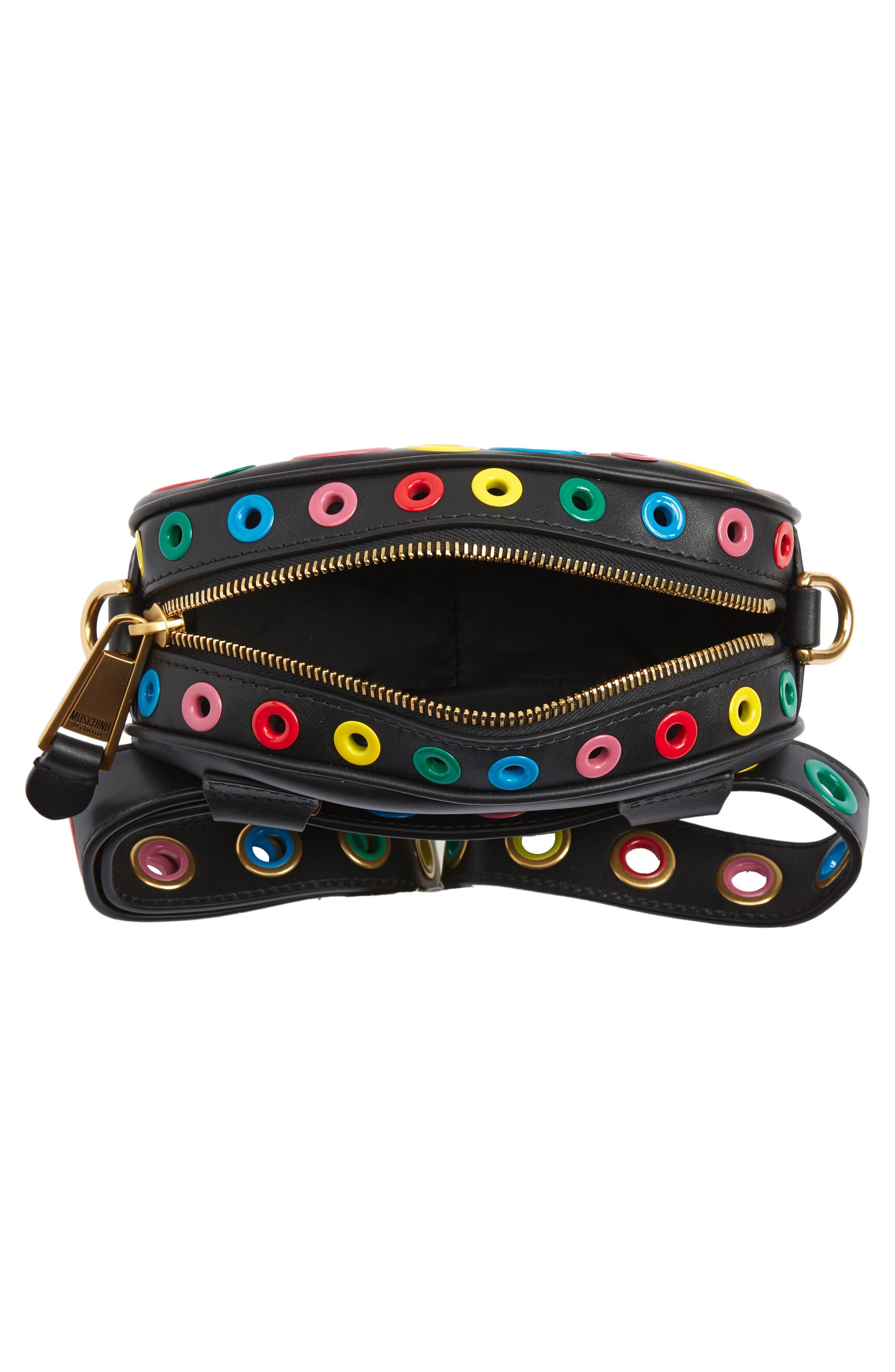 MOSCHINO,                             Multi Grommet Belt Bag,                             Alternate thumbnail 6, color,                             BLACK