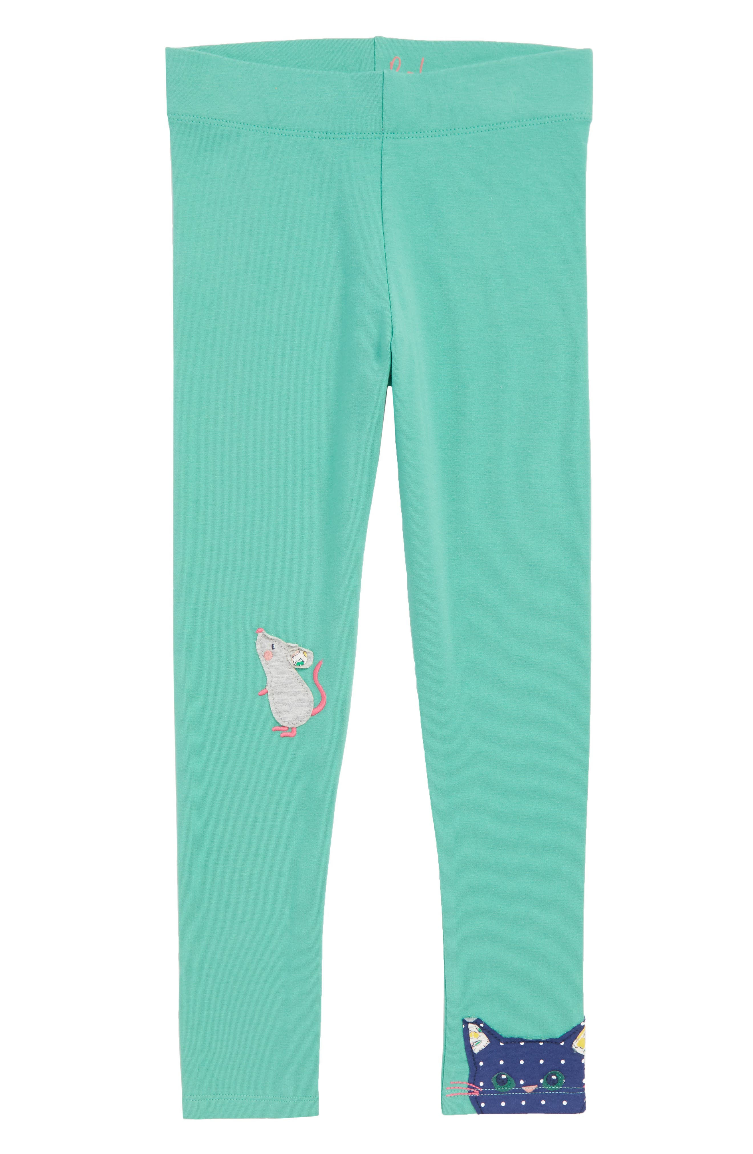 Appliqué Leggings,                             Main thumbnail 1, color,                             JUNGLE GREEN CAT AND MOUSE