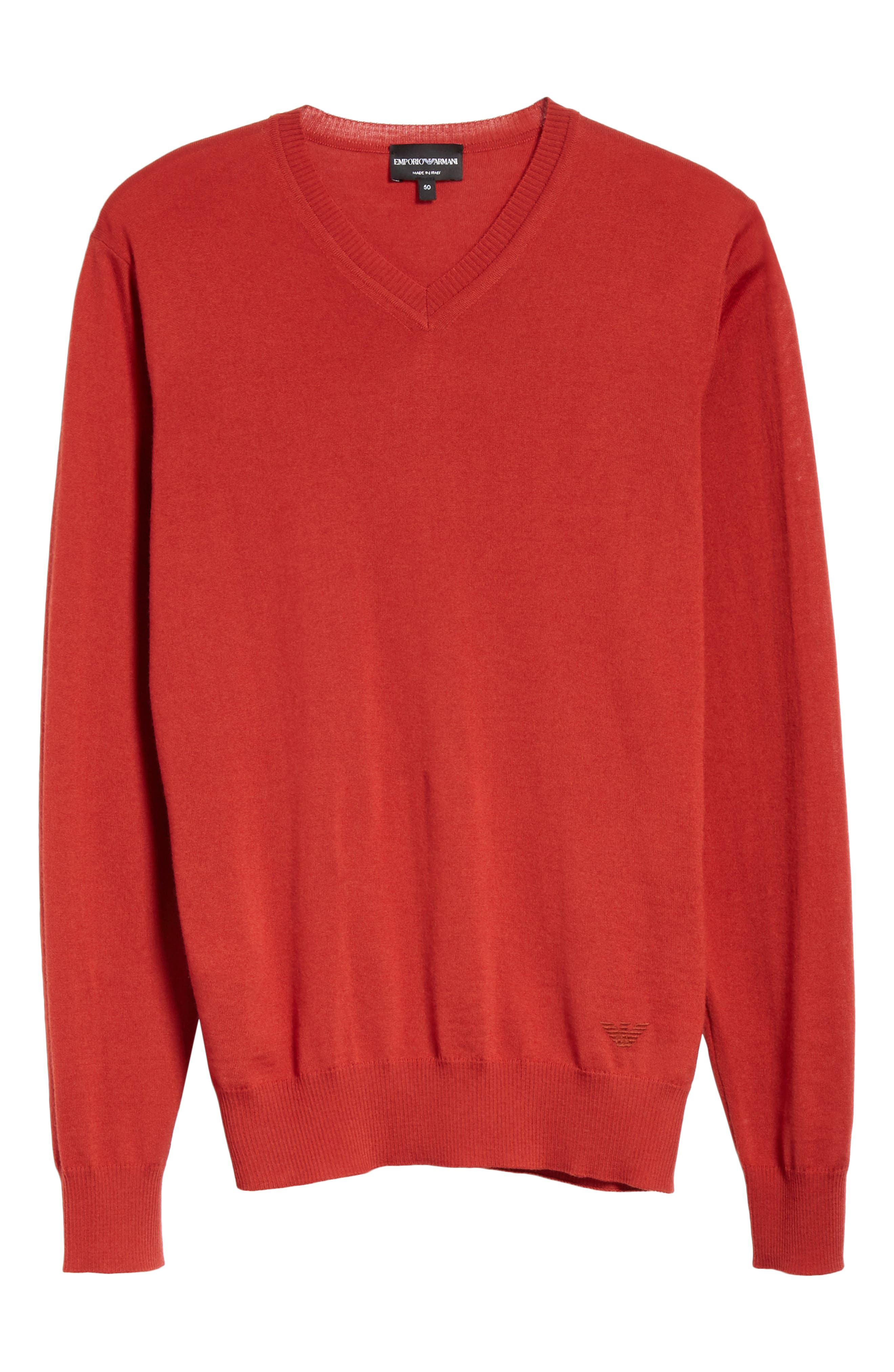 V-Neck Wool Sweater,                             Alternate thumbnail 6, color,                             RED