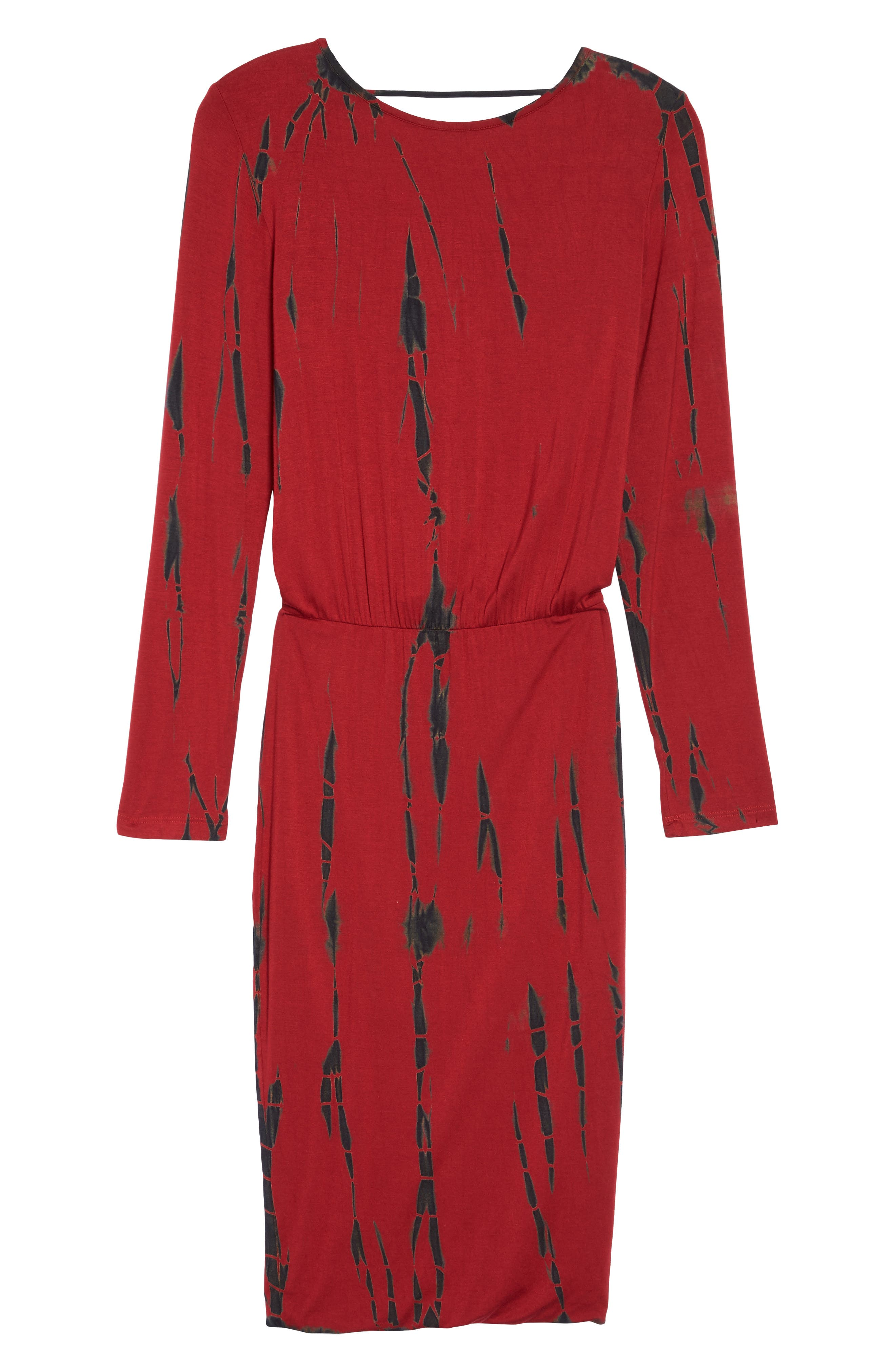 Tie Dye Blouson Midi Dress,                             Alternate thumbnail 6, color,                             WINE BLACK