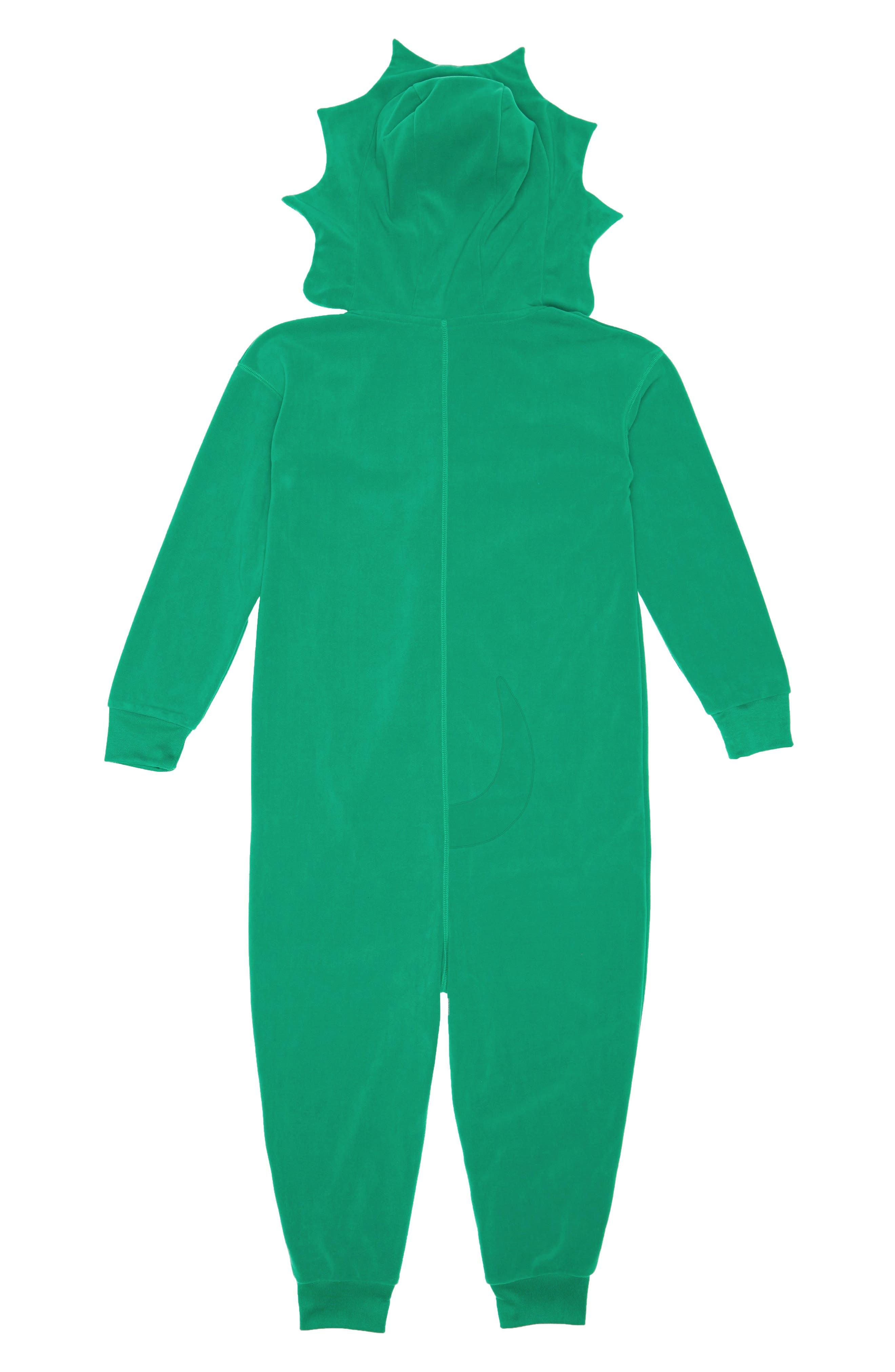 Animal One-Piece Hooded Pajamas,                             Alternate thumbnail 2, color,                             GREEN GENIUS DINO