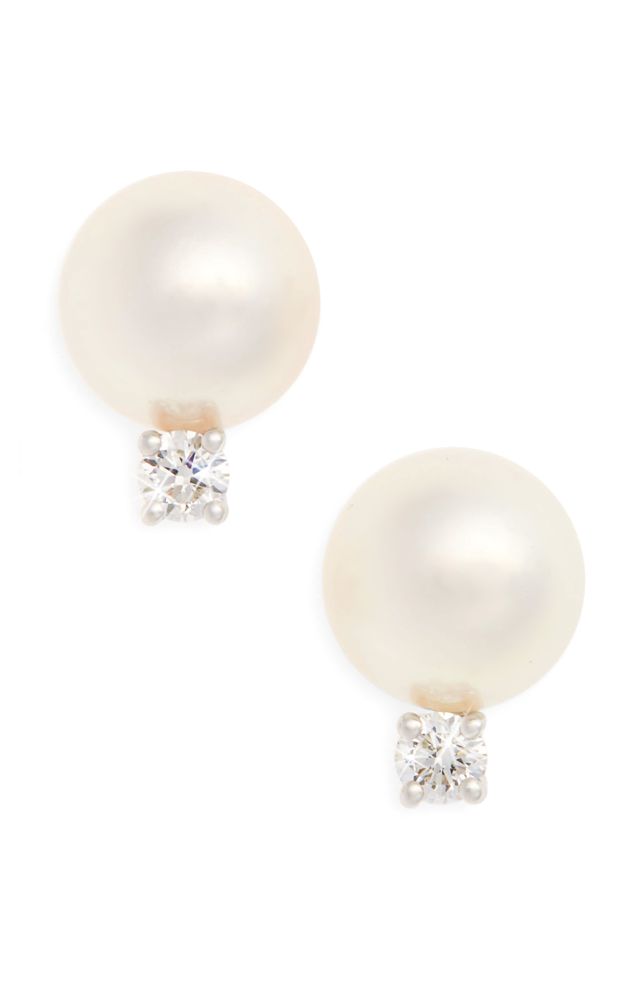 Akoya Pearl & Diamond Stud Earrings,                             Main thumbnail 1, color,                             710