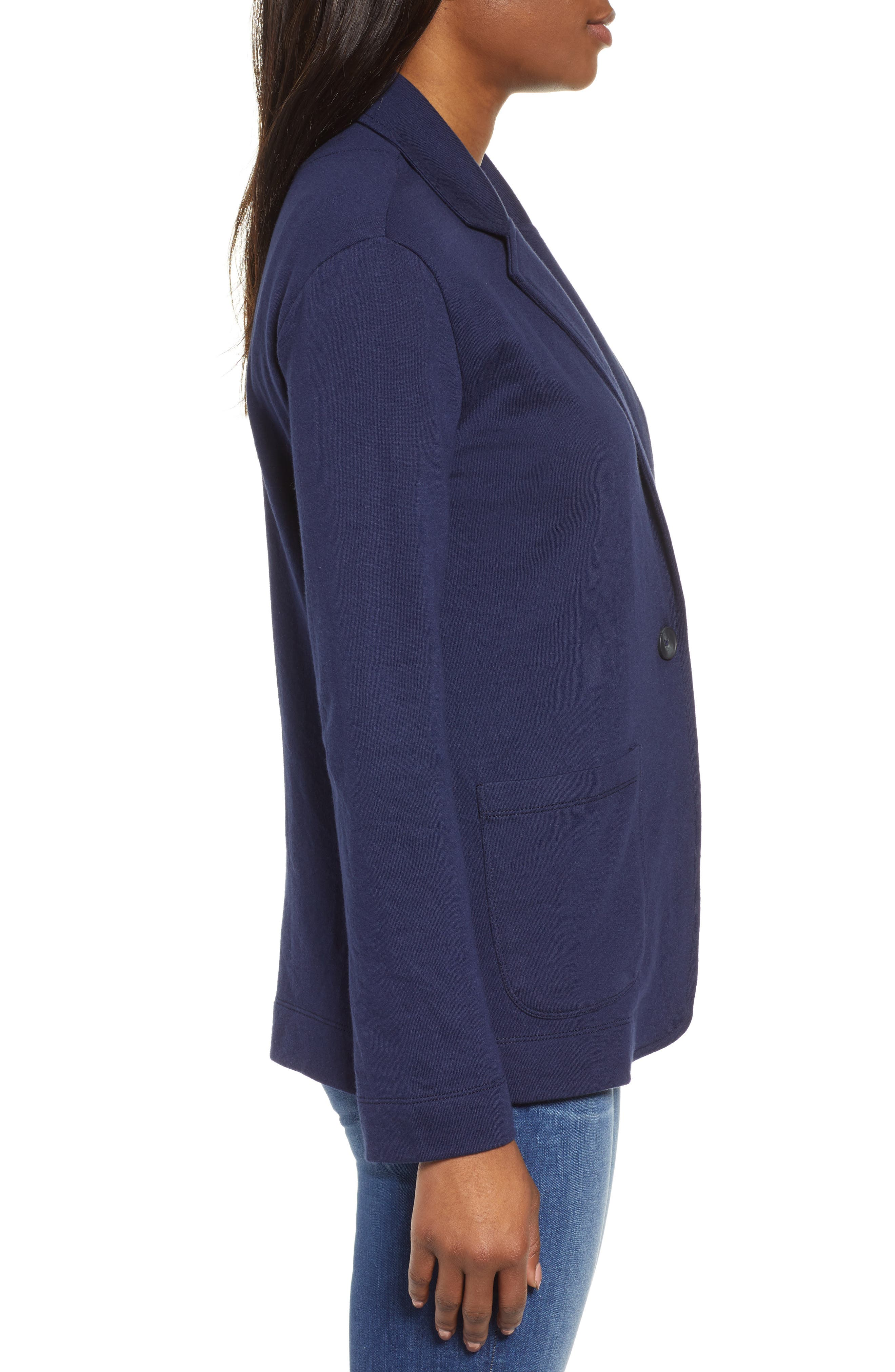 CASLON<SUP>®</SUP>,                             Two Pocket Knit Blazer,                             Alternate thumbnail 3, color,                             NAVY PEACOAT