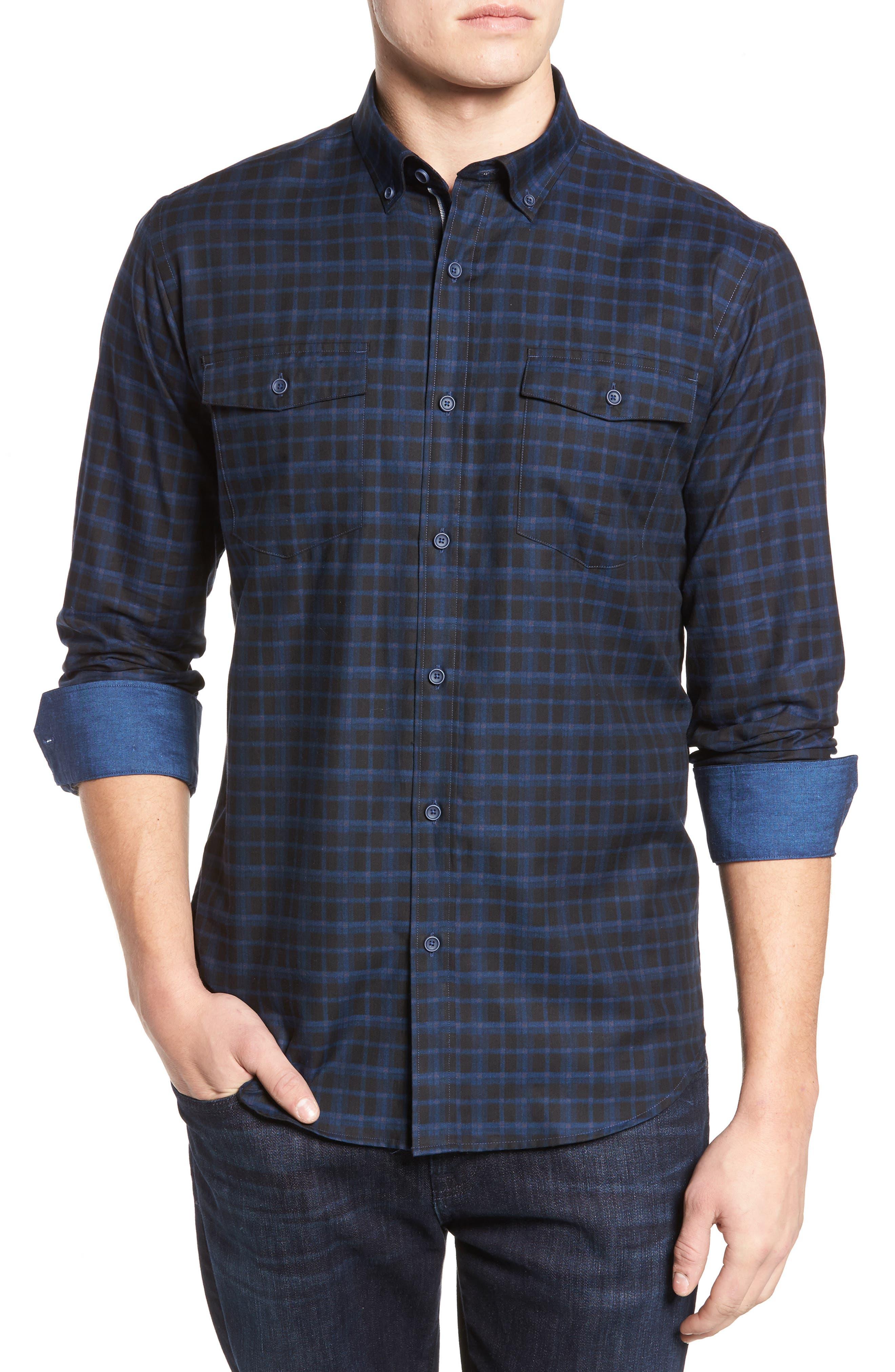 Shaped Fit Plaid Sport Shirt,                         Main,                         color, 410