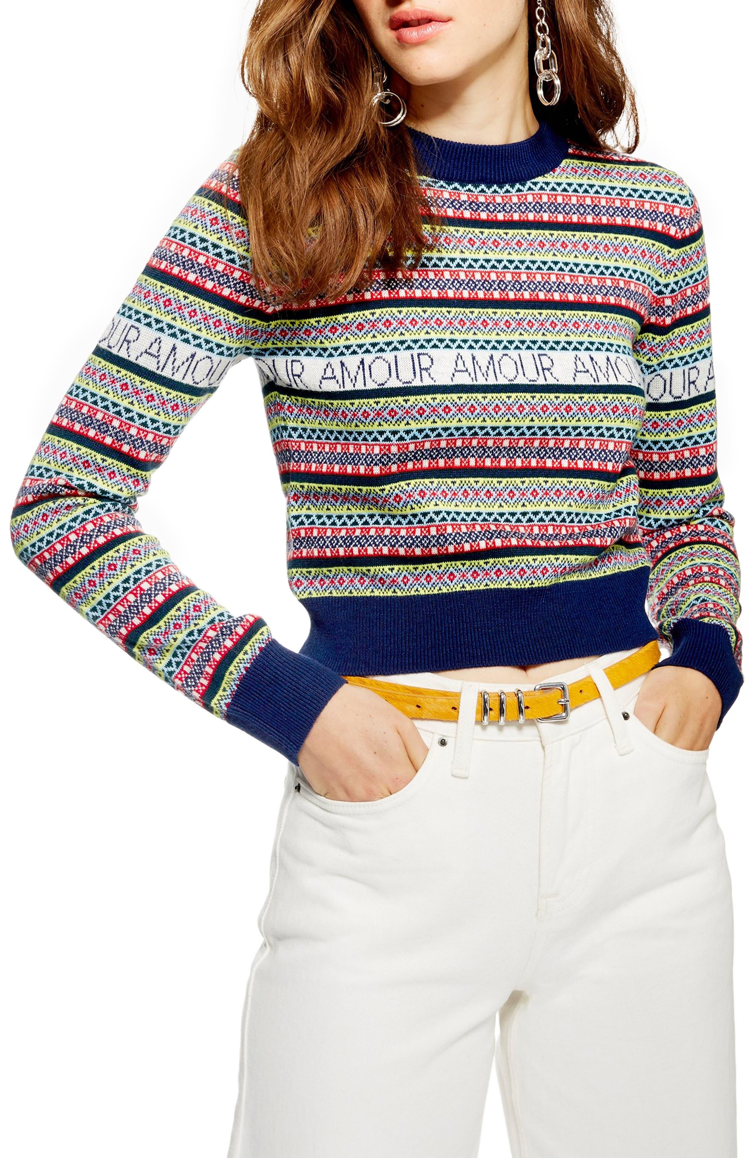 Amour Fair Isle Sweater,                         Main,                         color, NAVY BLUE MULTI
