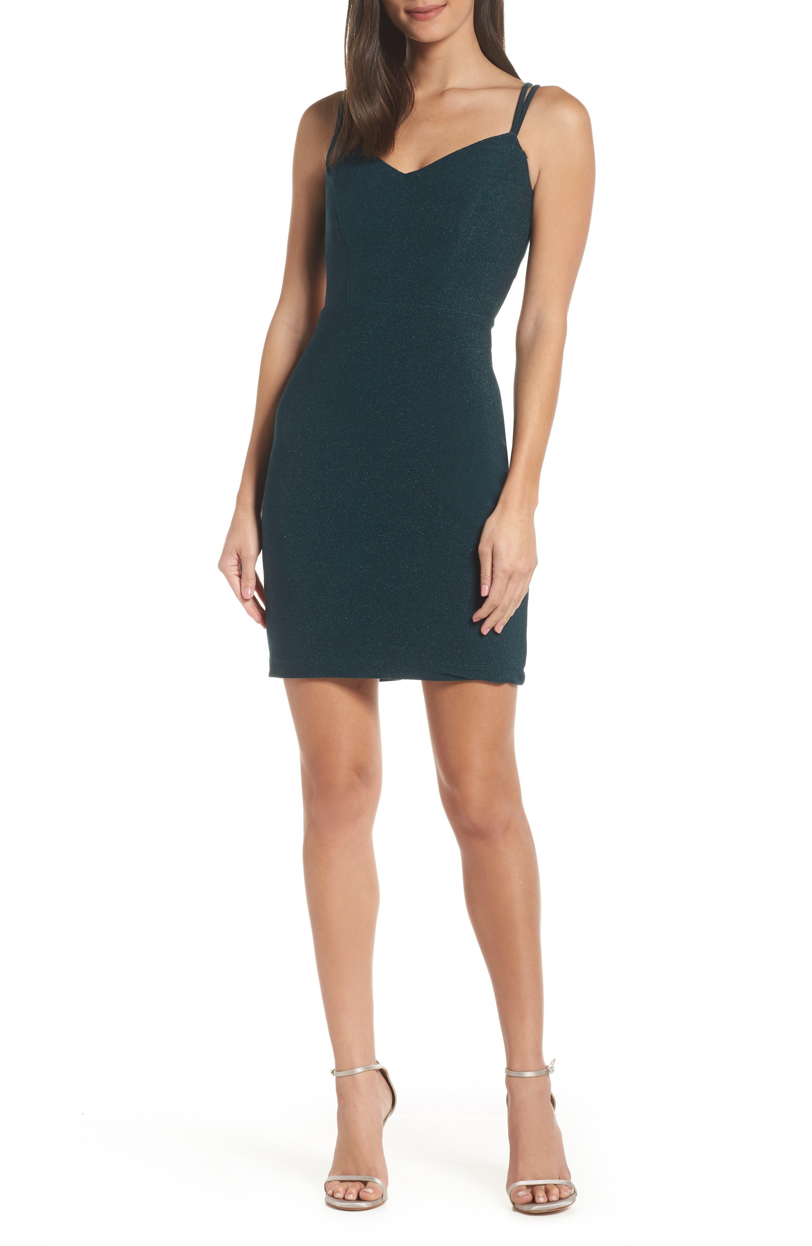 Morgan & Co. Strappy Glitter Knit Dress, Green