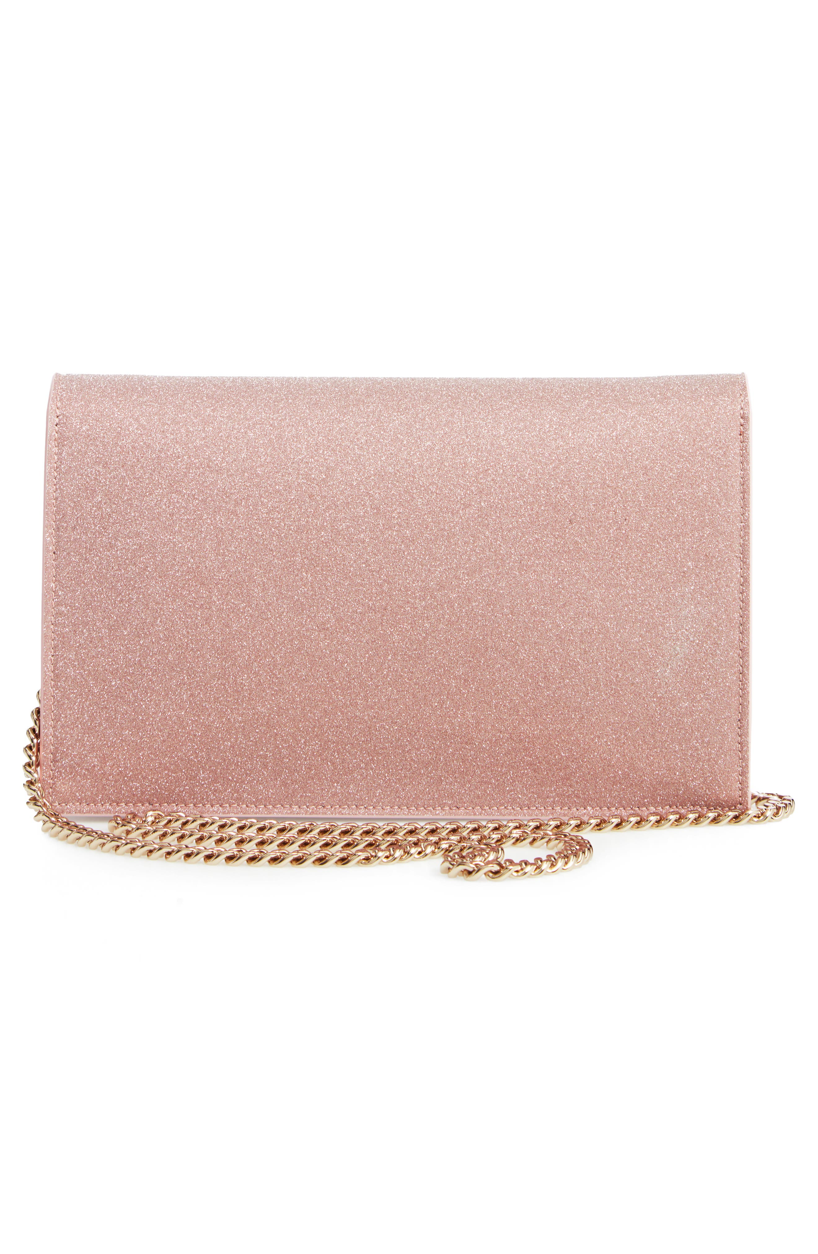 Lizzie Glitter Clutch,                             Alternate thumbnail 3, color,                             BALLET PINK
