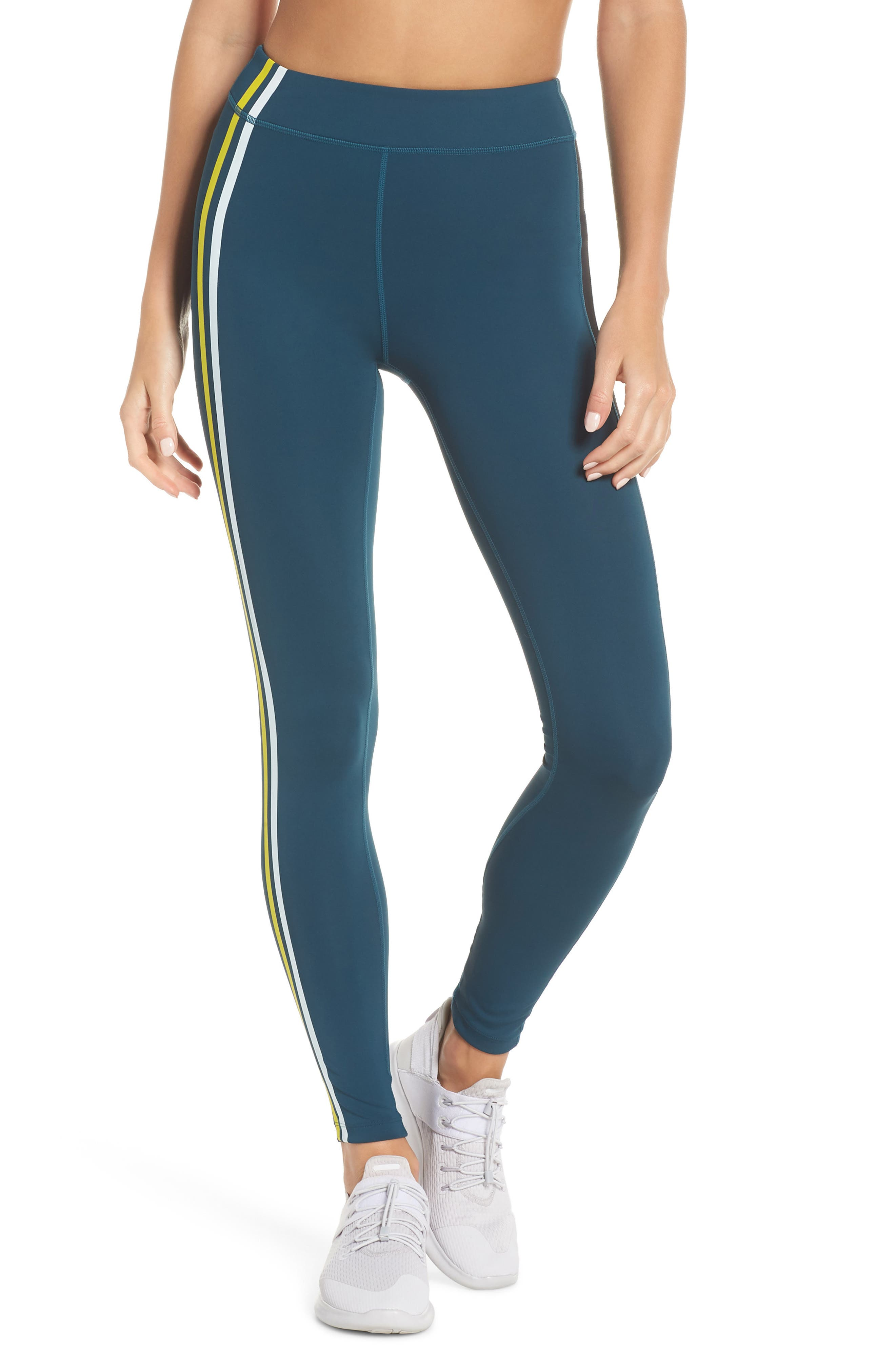High Waist Stripe Ankle Leggings,                         Main,                         color, TEAL ABYSS