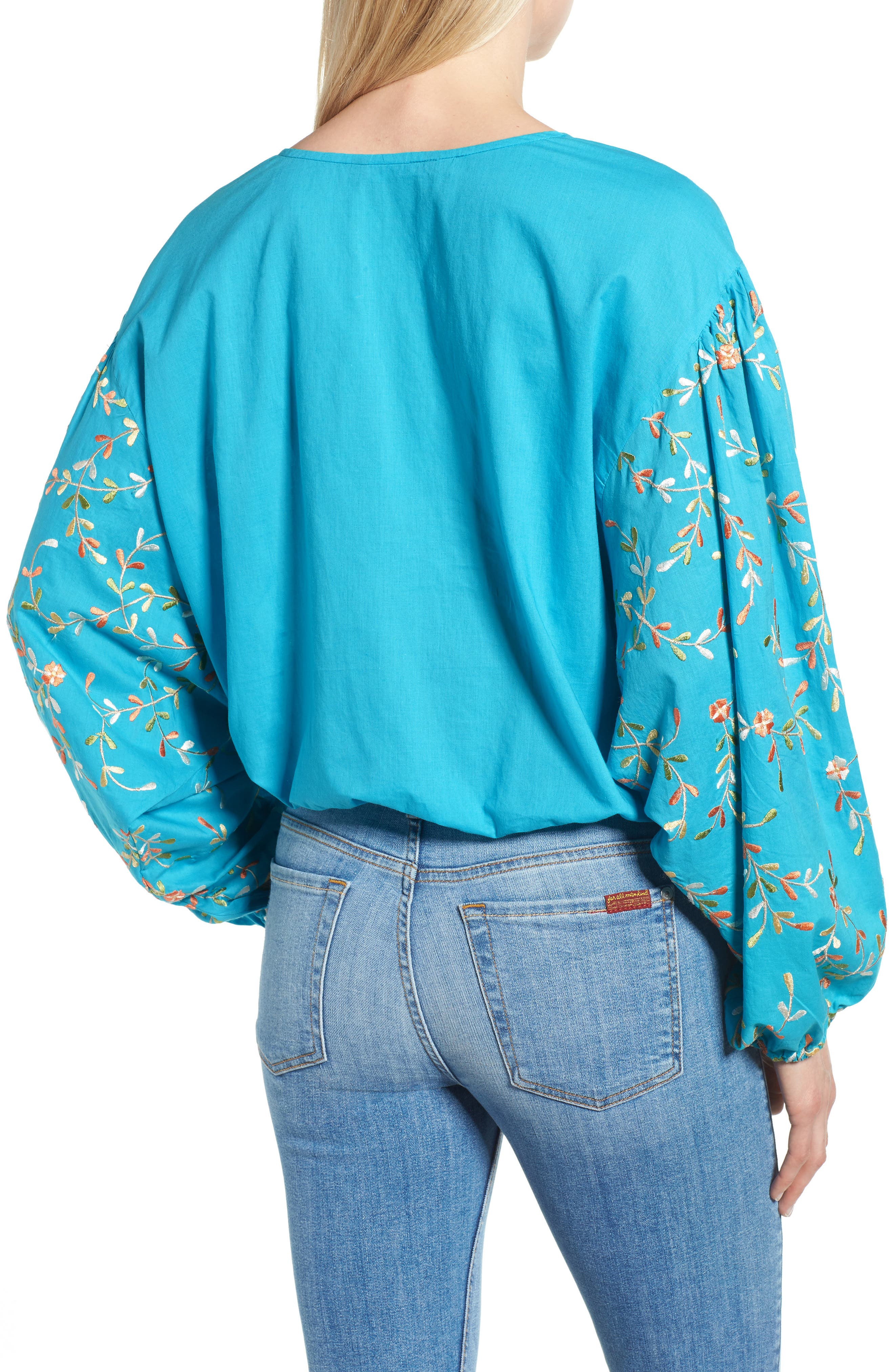 Coline Front Tie Embroidered Sleeve Blouse,                             Alternate thumbnail 2, color,                             440