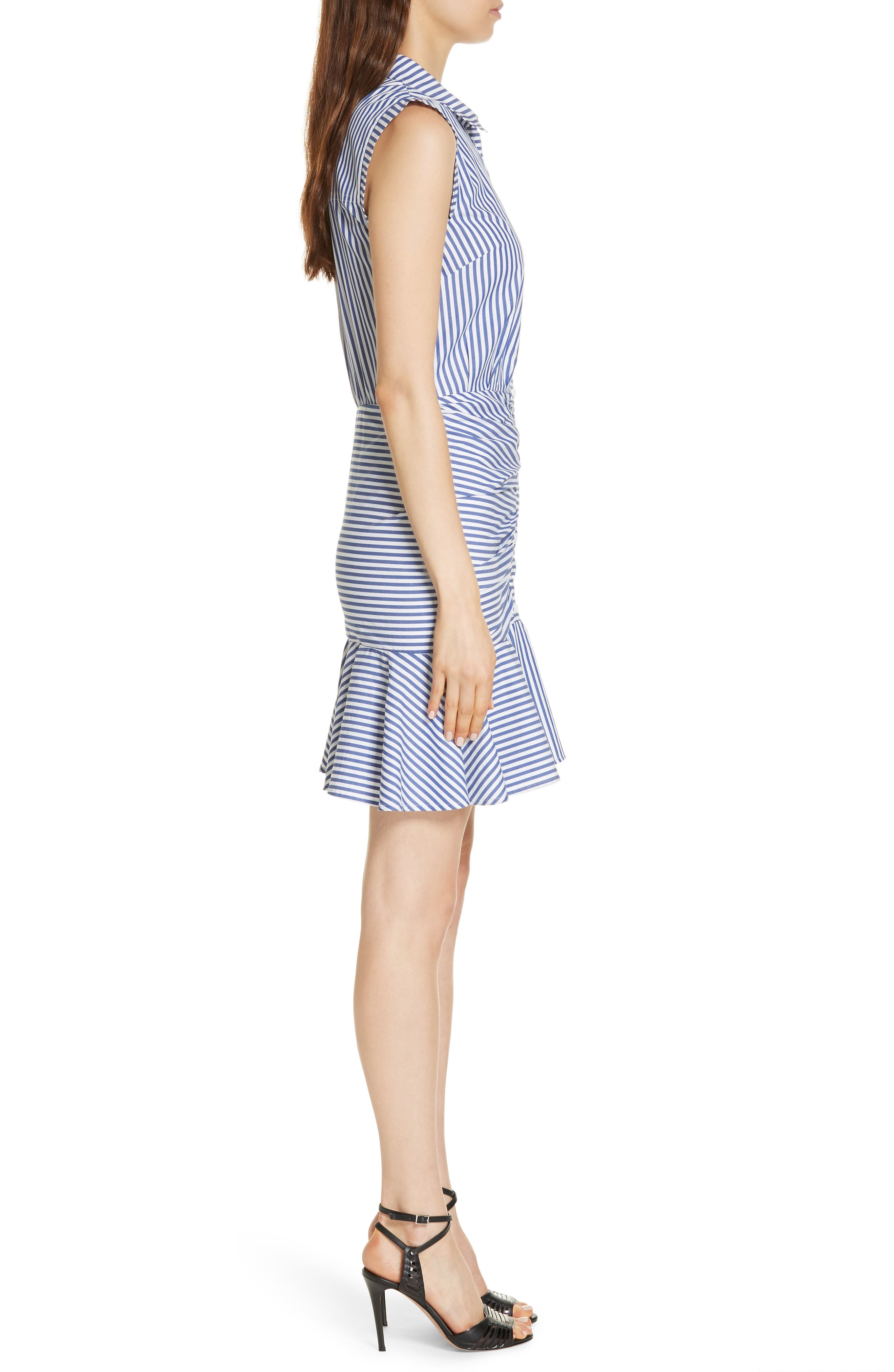 Bell Stripe Ruched Shirtdress,                             Alternate thumbnail 4, color,                             400