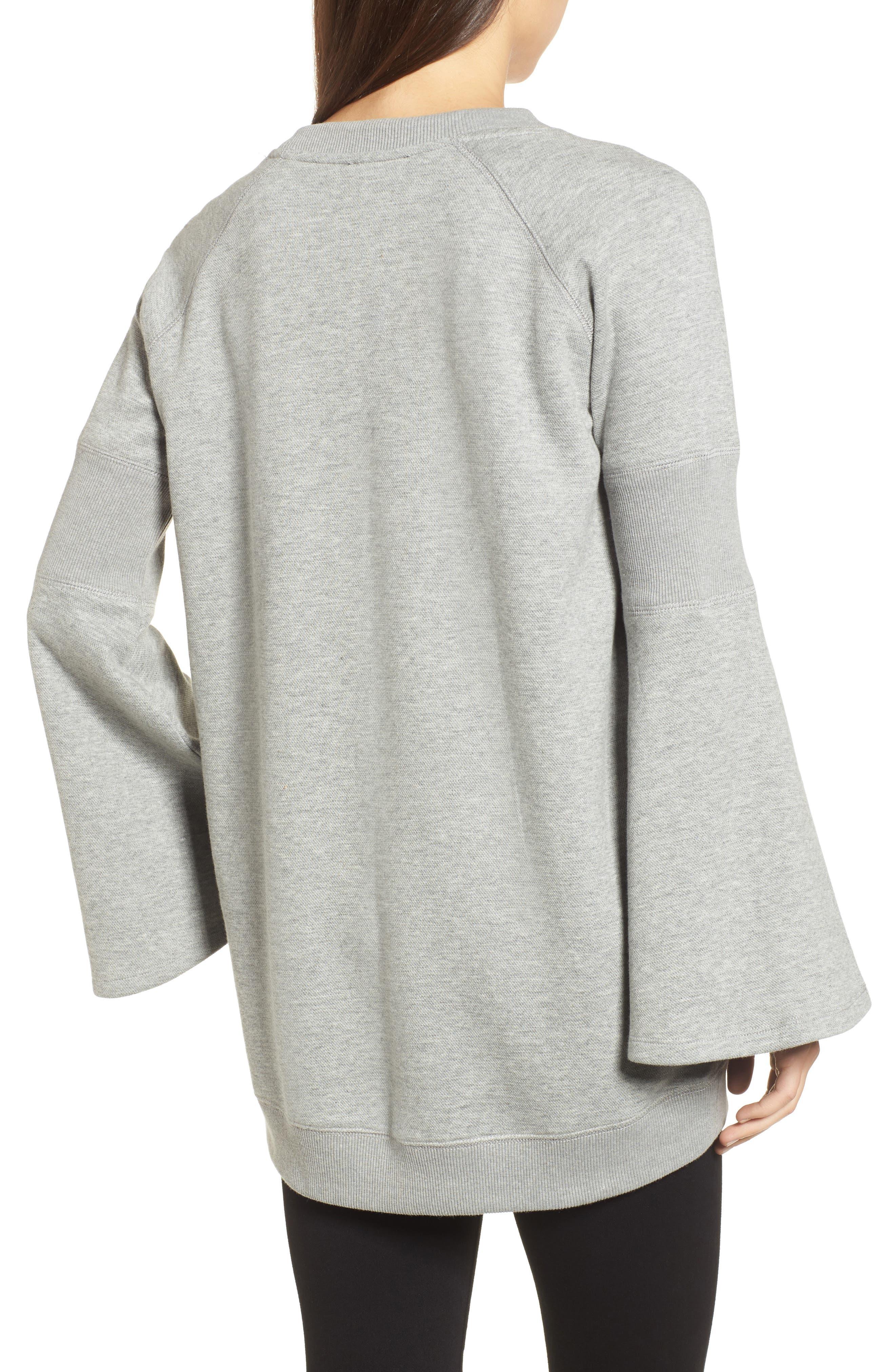 Bell Sleeve Ribbed Sweatshirt,                             Alternate thumbnail 2, color,                             089