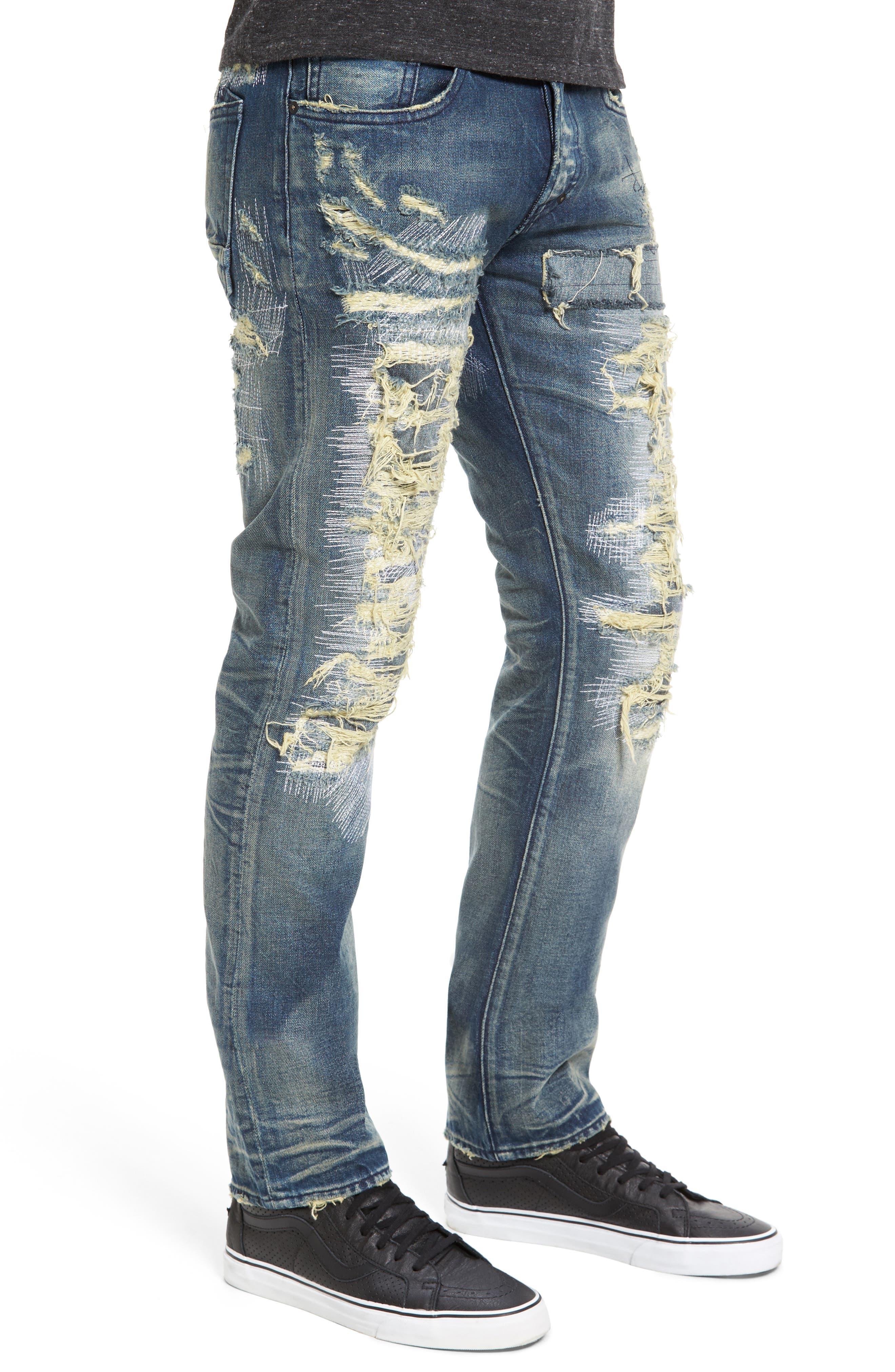 PRPS,                             Demon Slim Straight Jeans,                             Alternate thumbnail 3, color,                             INDIGO BLUE