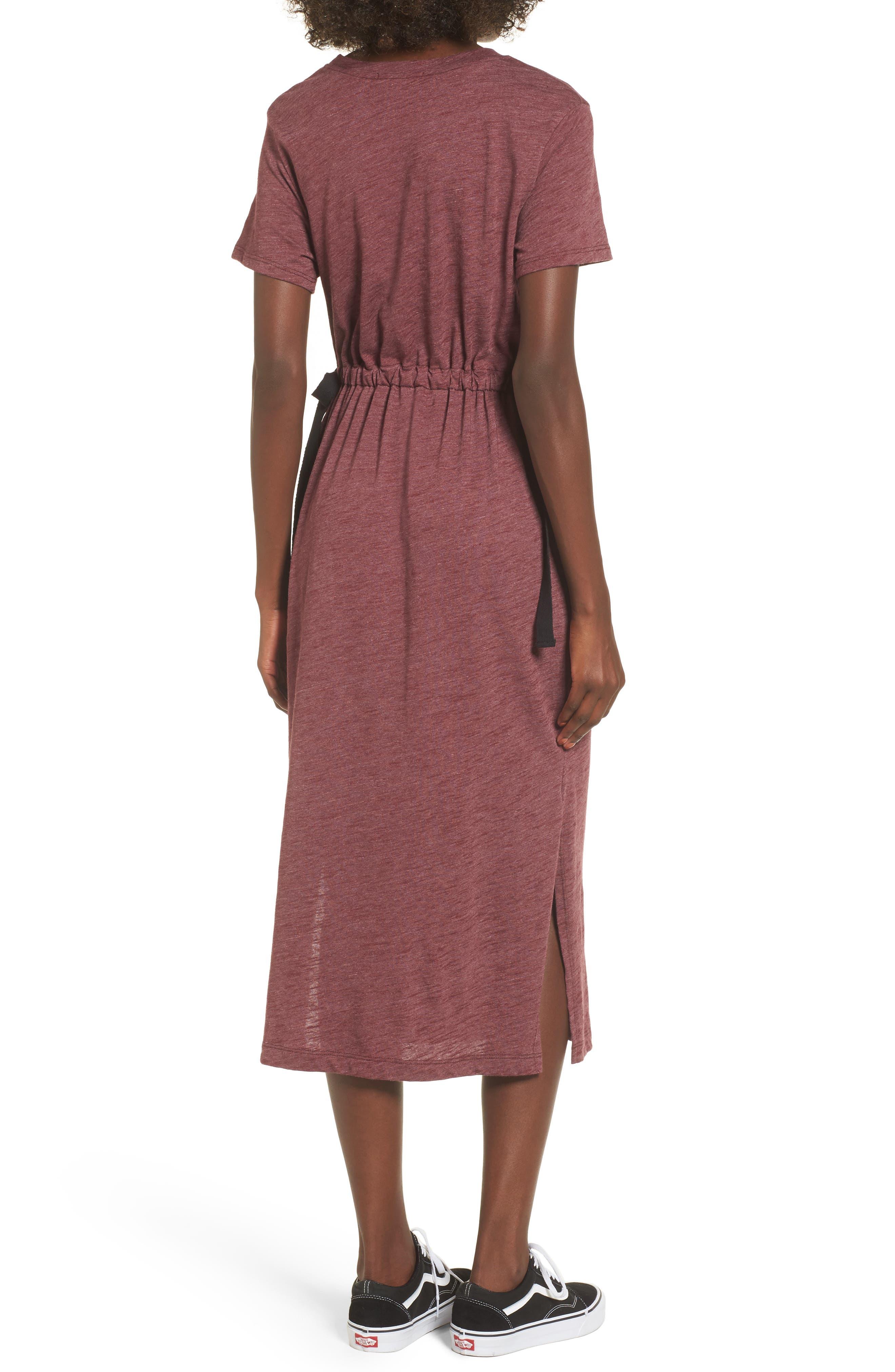 Side Tie Midi T-Shirt Dress,                             Alternate thumbnail 6, color,