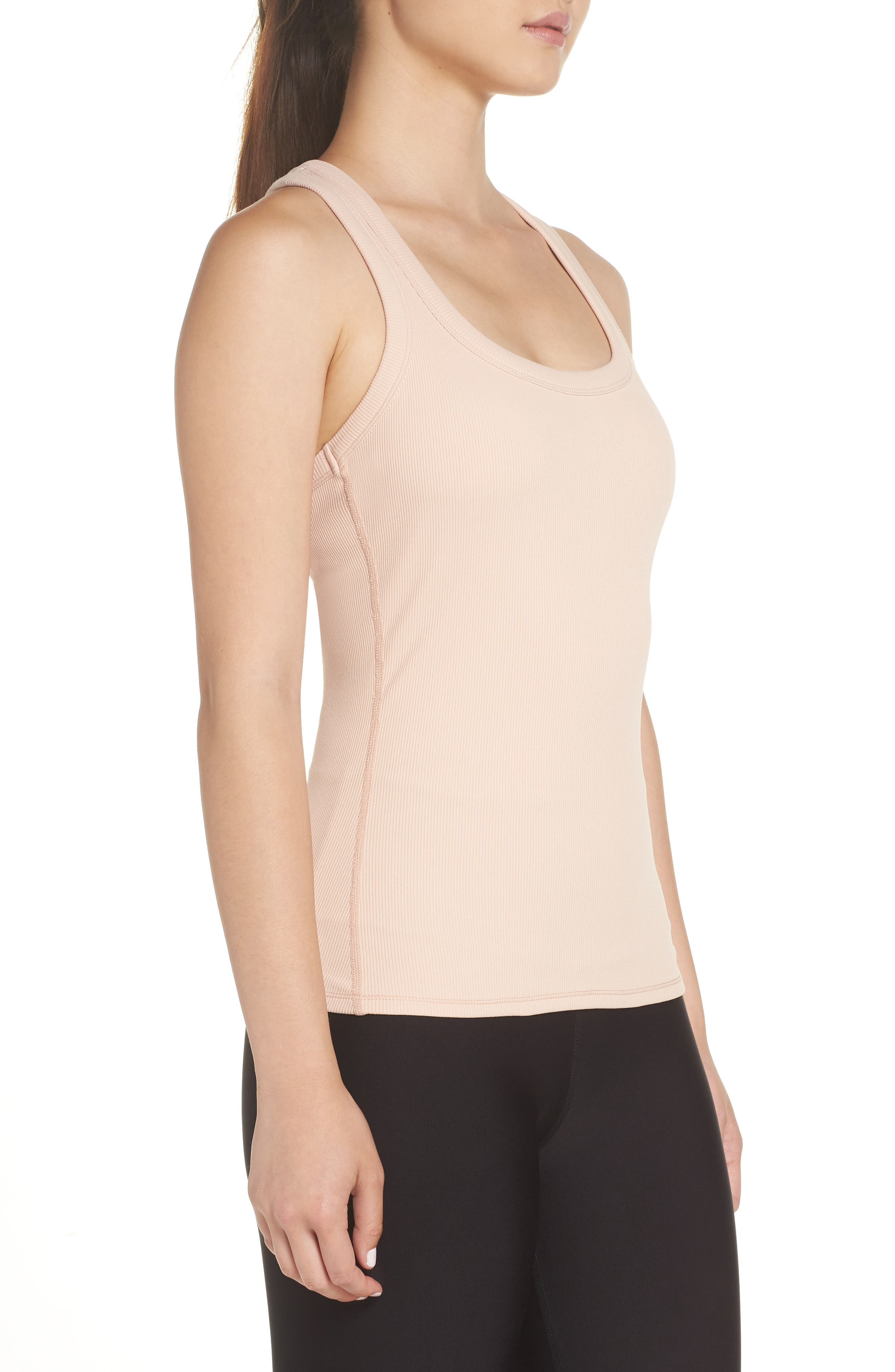 Support Ribbed Racerback Tank,                             Alternate thumbnail 3, color,                             NECTAR