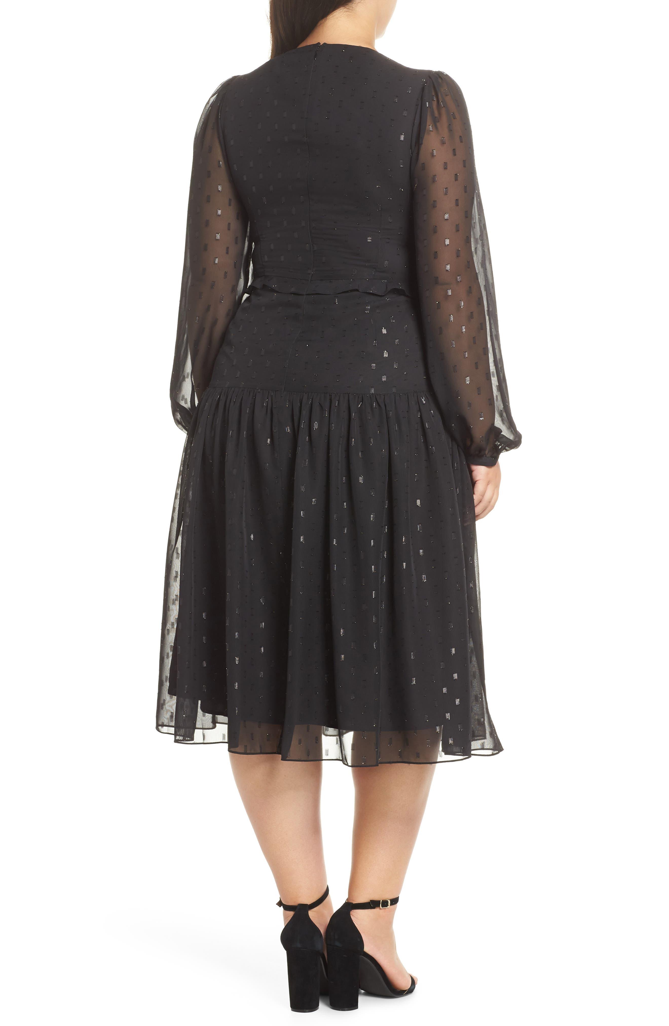 Fil Coupé Midi Dress,                             Alternate thumbnail 9, color,                             BLACK