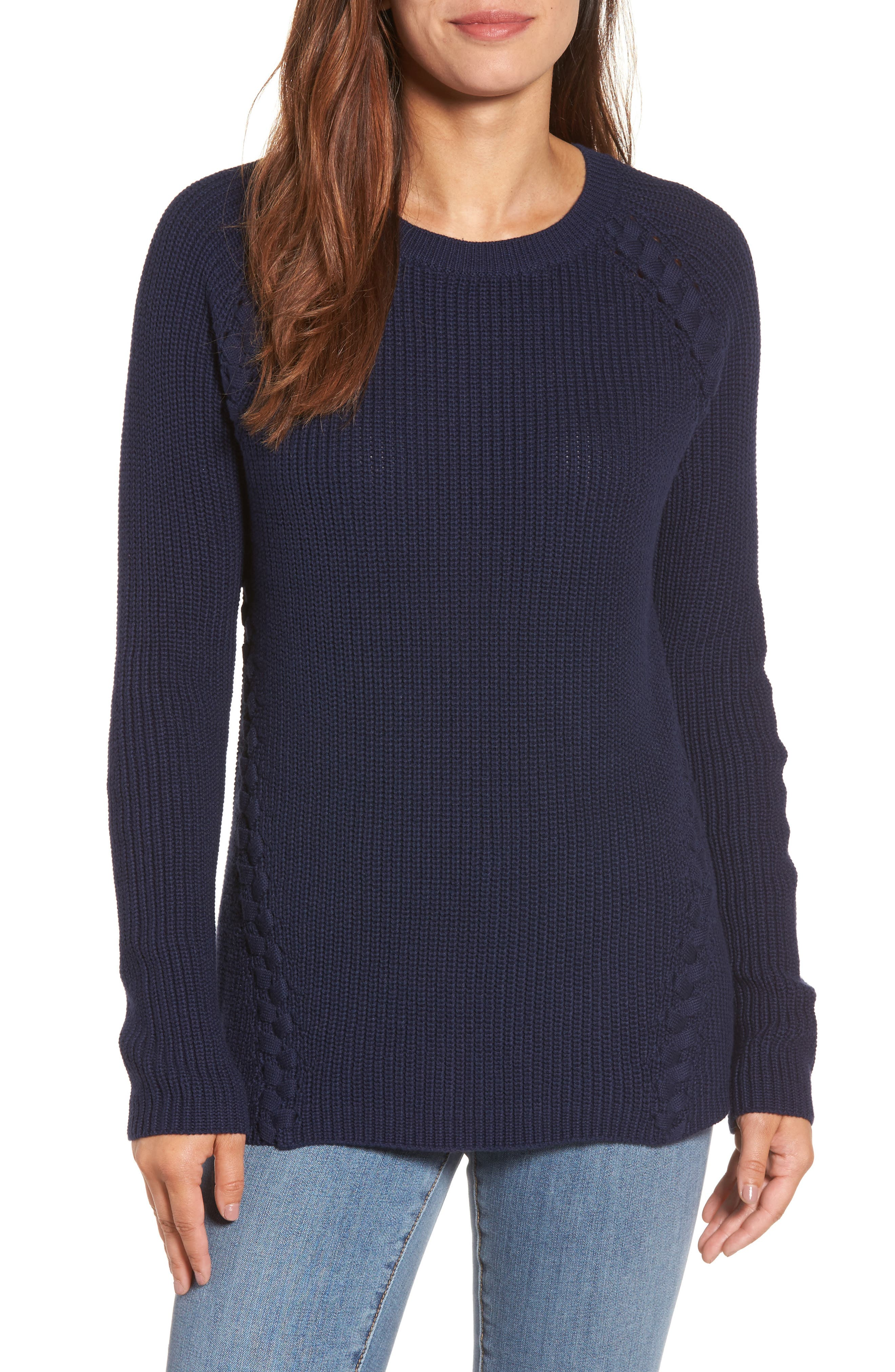 Lace-Up Sweater,                             Main thumbnail 1, color,                             410