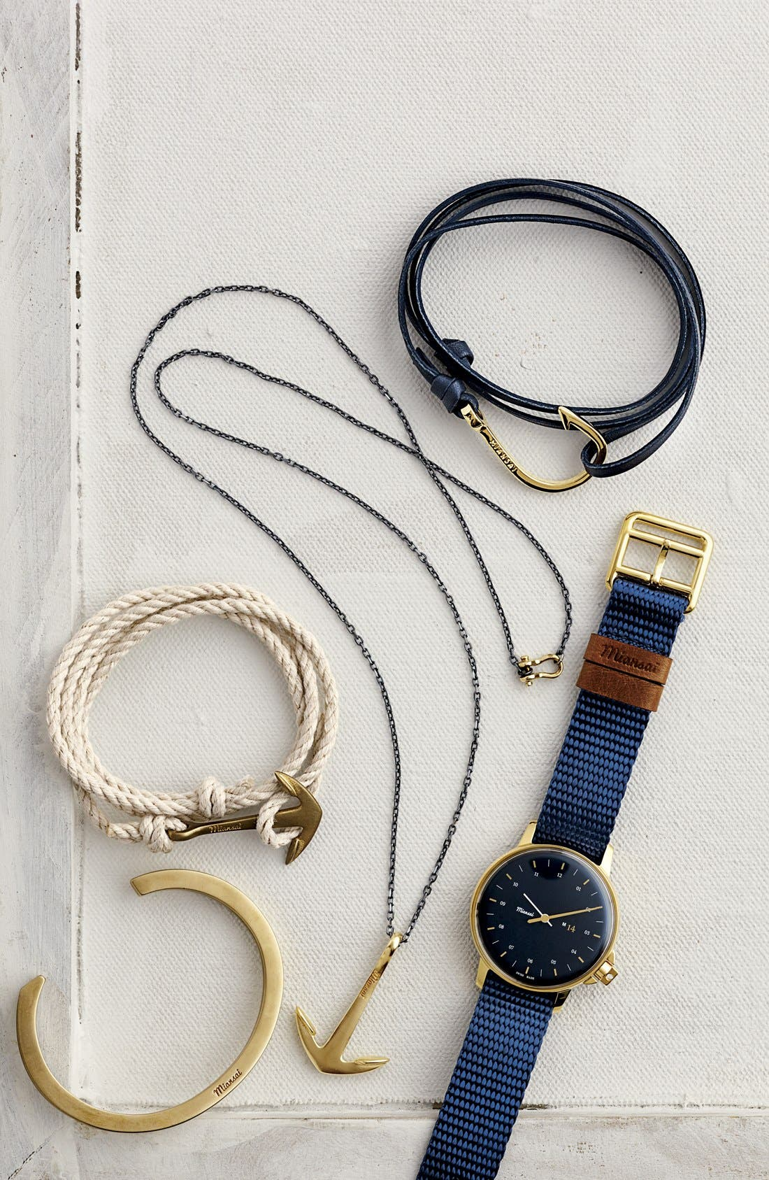 Gold Hook Leather Bracelet,                             Alternate thumbnail 3, color,                             BLACK