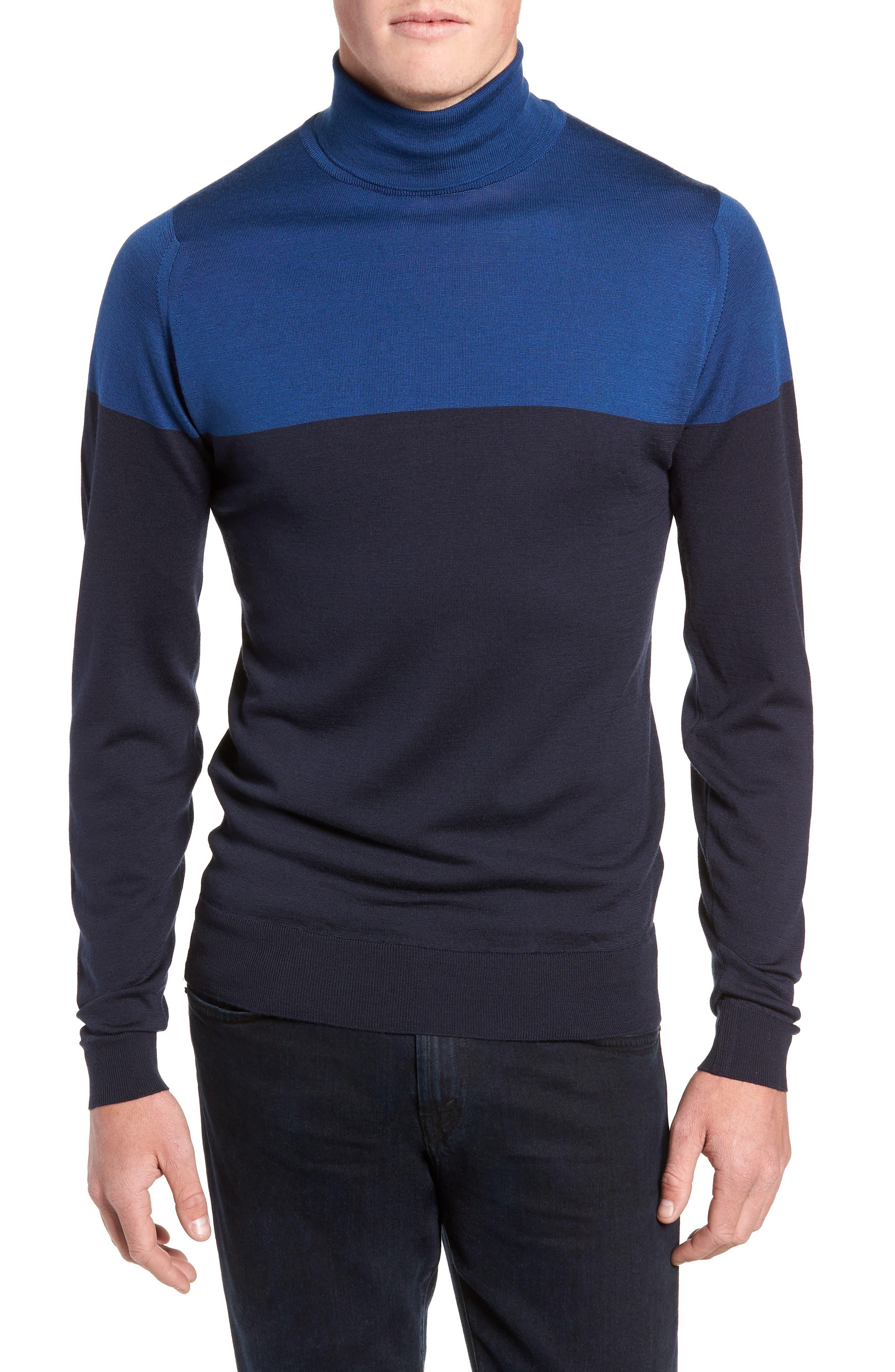 Slim Fit Colorblock Merino Wool Turtleneck Sweater,                         Main,                         color, MIDNIGHT