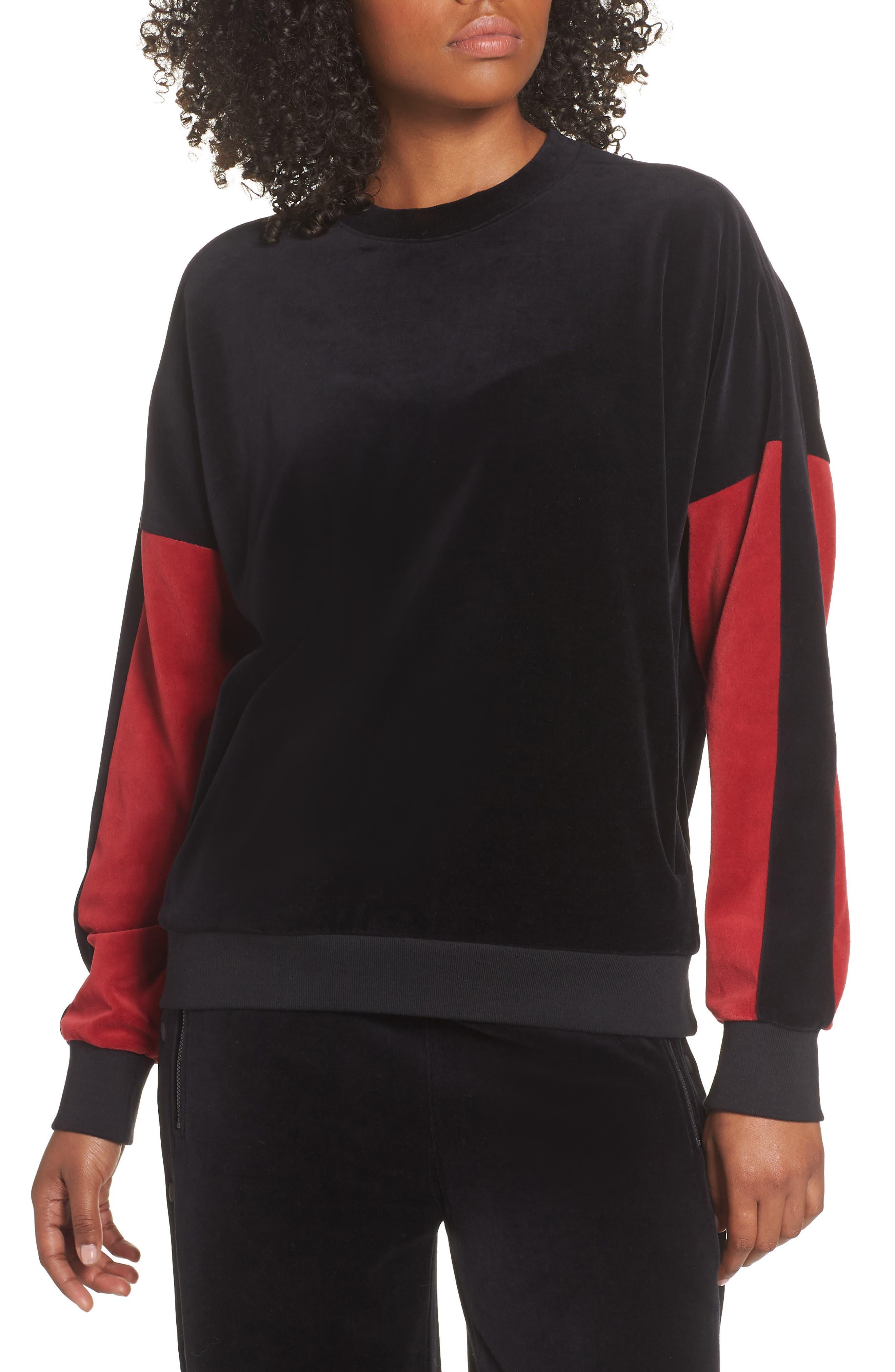 Velour Crewneck Sweater,                         Main,                         color, BLACK/ CRIMSON
