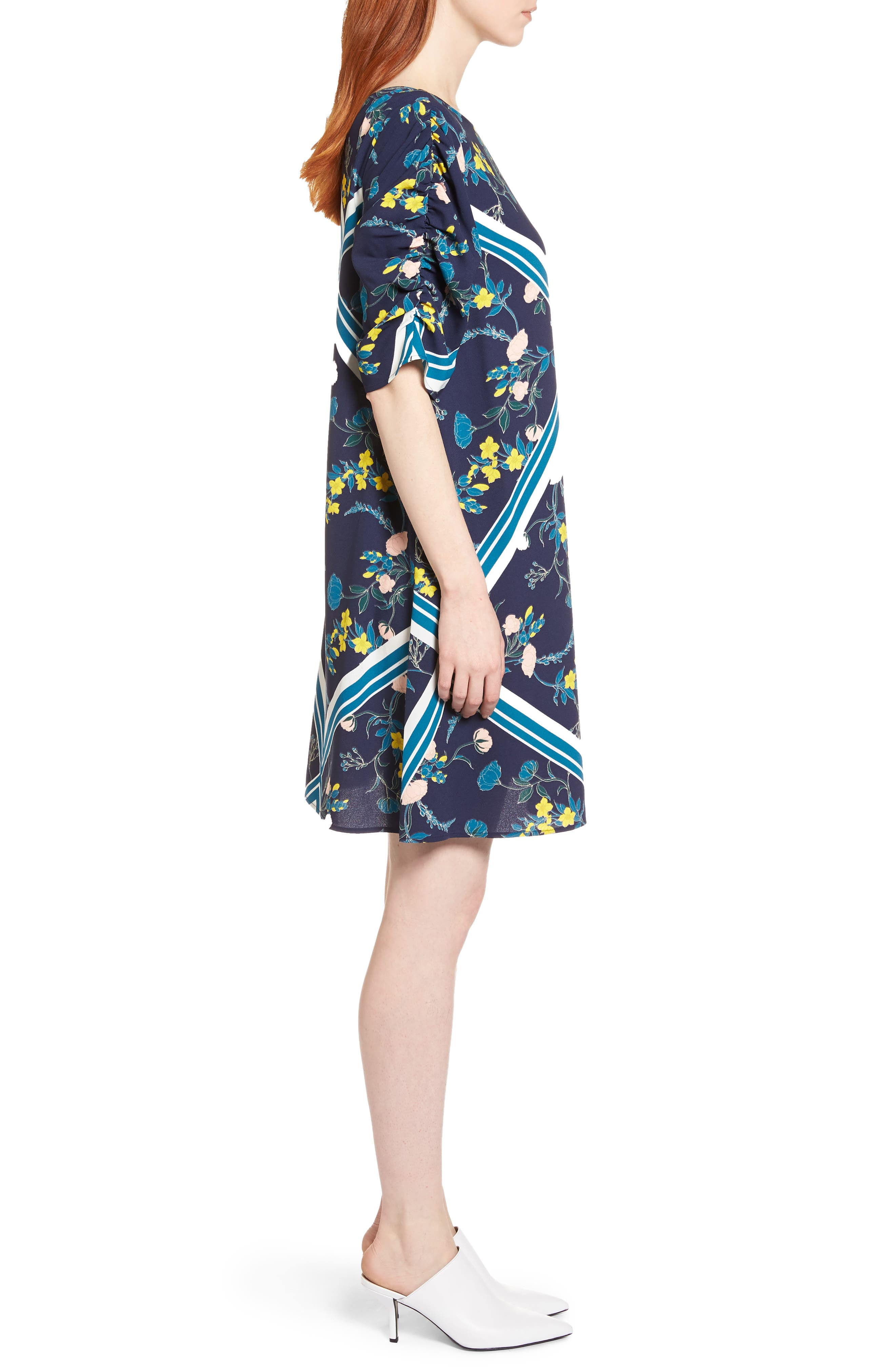 Ruched Sleeve Crepe Dress,                             Alternate thumbnail 17, color,