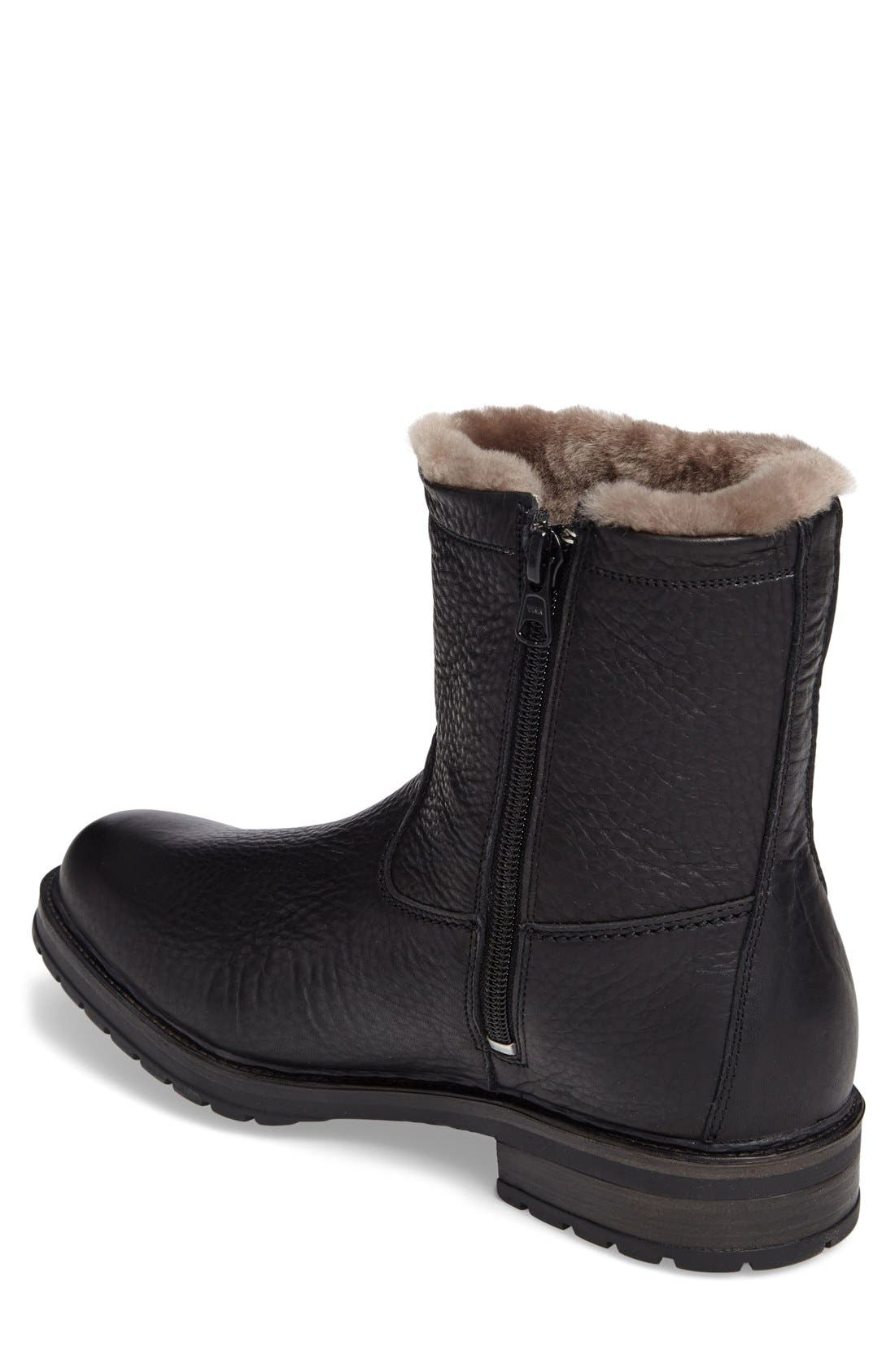 Leonardo Genuine Shearling Lined Boot,                             Alternate thumbnail 4, color,                             BLACK MONTANA