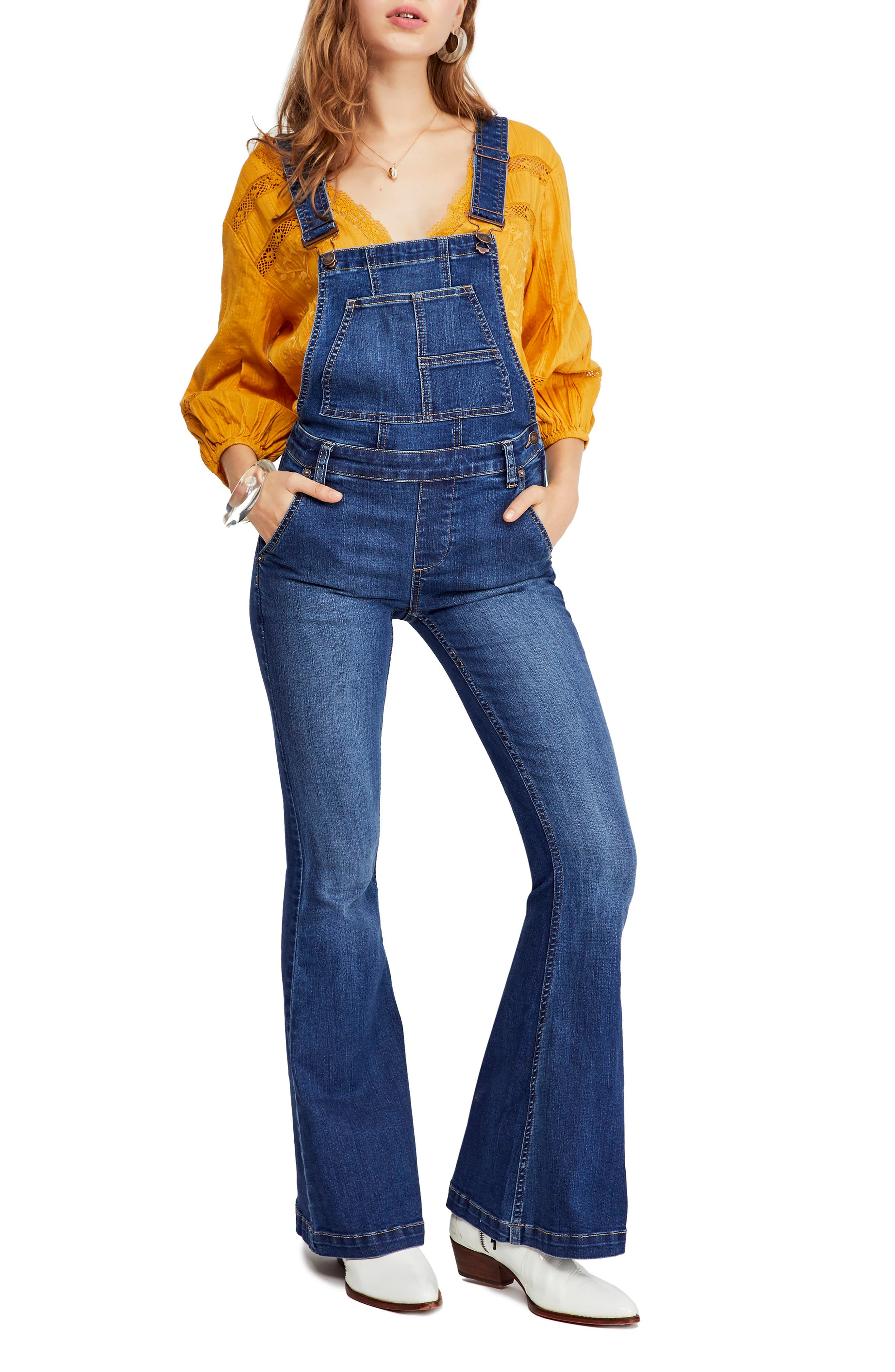 Carly Flare Overalls, Main, color, BLUE