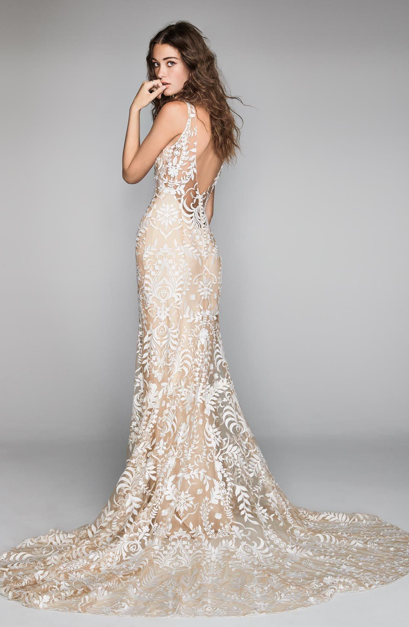 Corella Embroidered Lace & Charmeuse Mermaid Gown,                             Alternate thumbnail 2, color,                             NUDE/NUDE