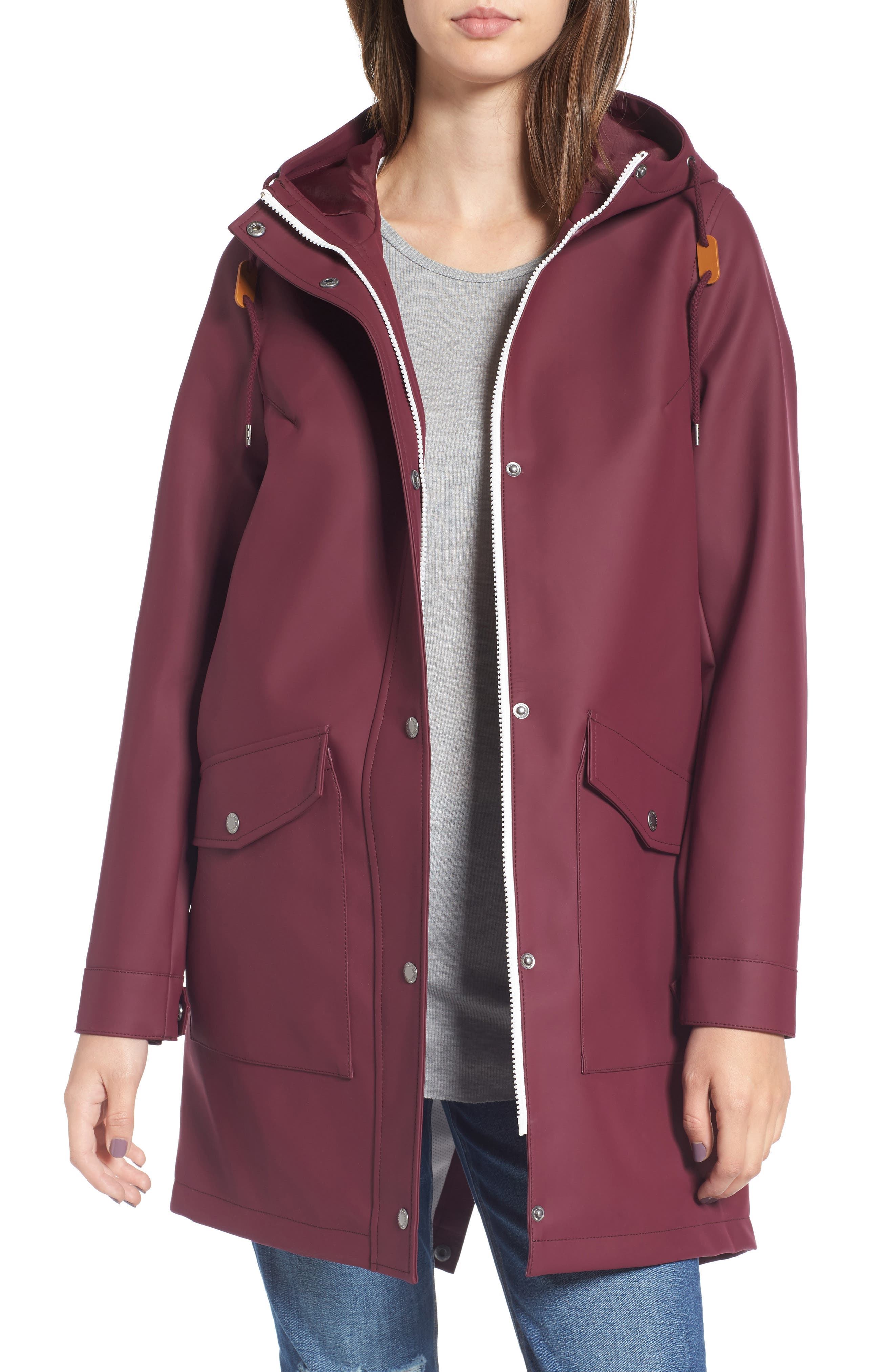 Rain Jacket,                             Main thumbnail 1, color,                             WINE