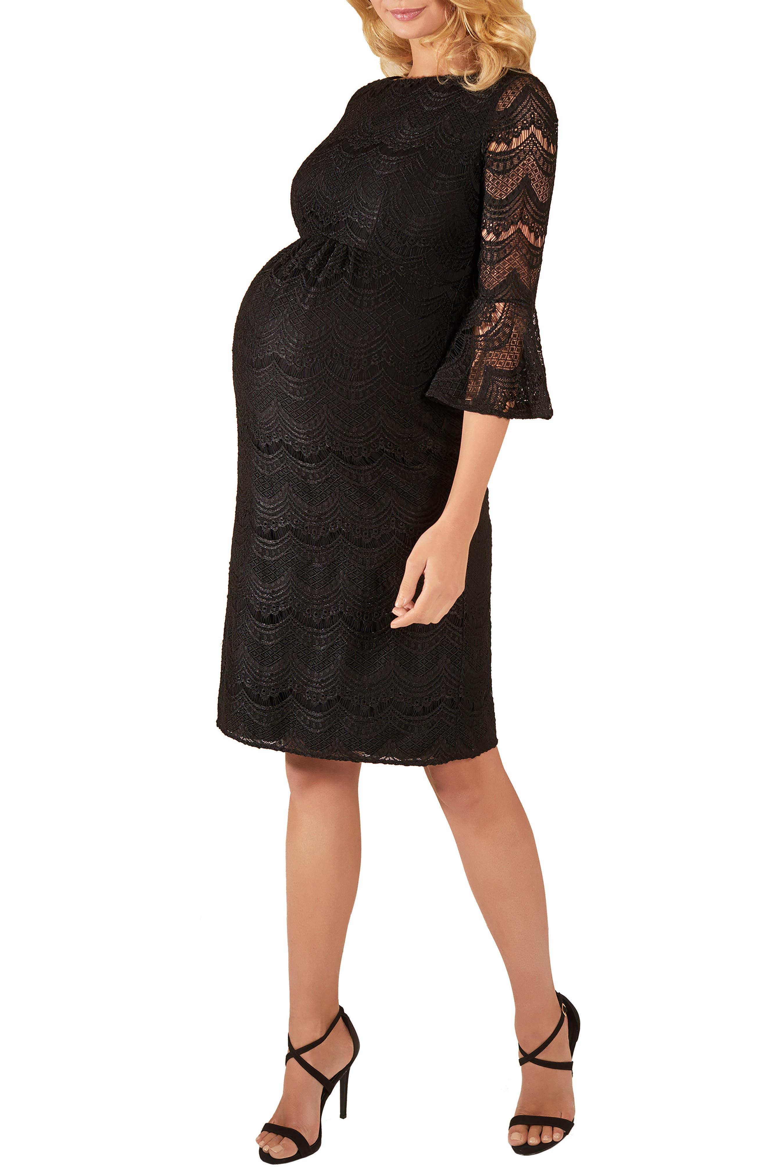TIFFANY ROSE,                             Jane Lace Maternity Dress,                             Alternate thumbnail 3, color,                             BLACK