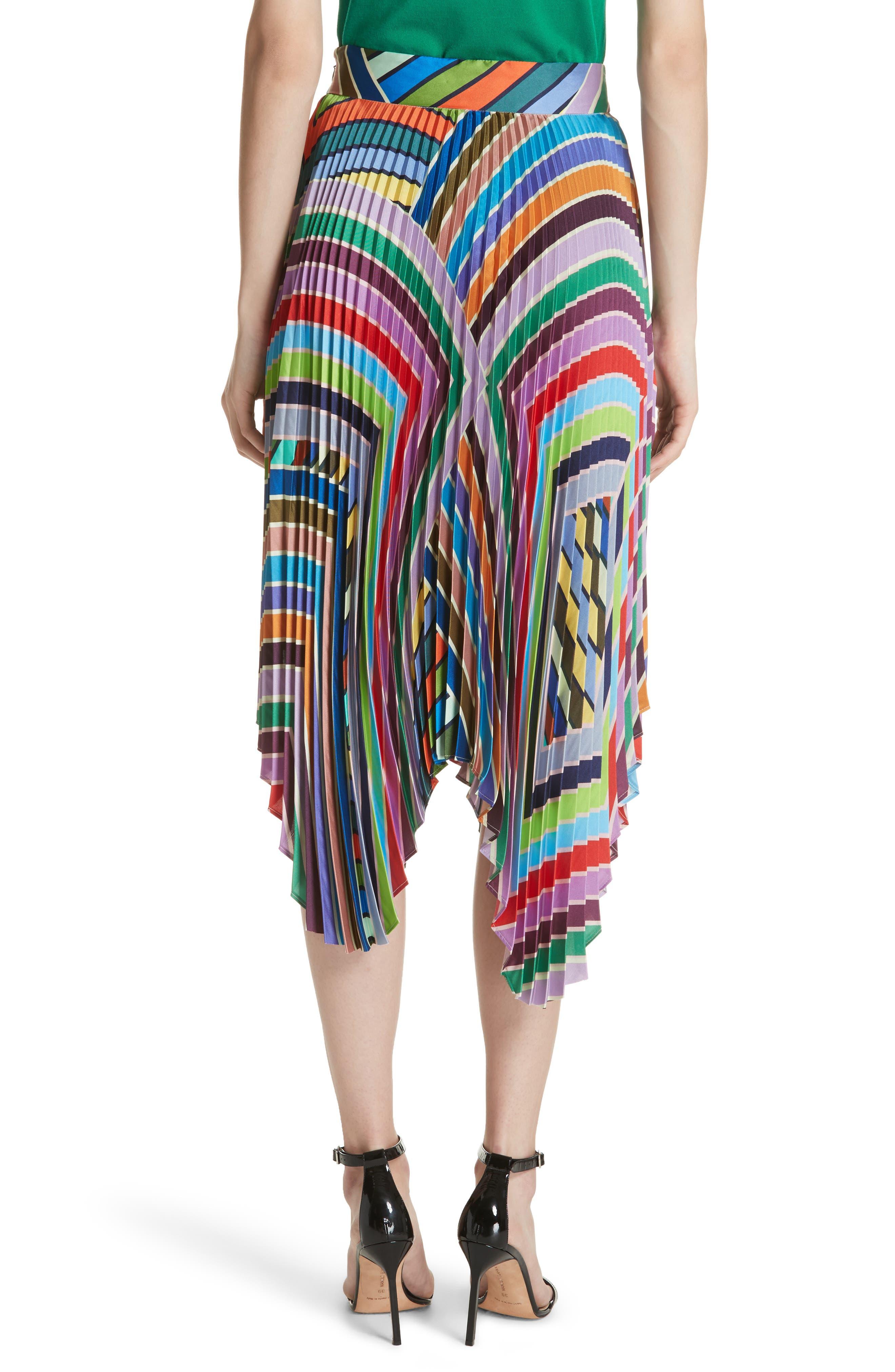 Stripe Pleated Handkerchief Skirt,                             Alternate thumbnail 2, color,                             464