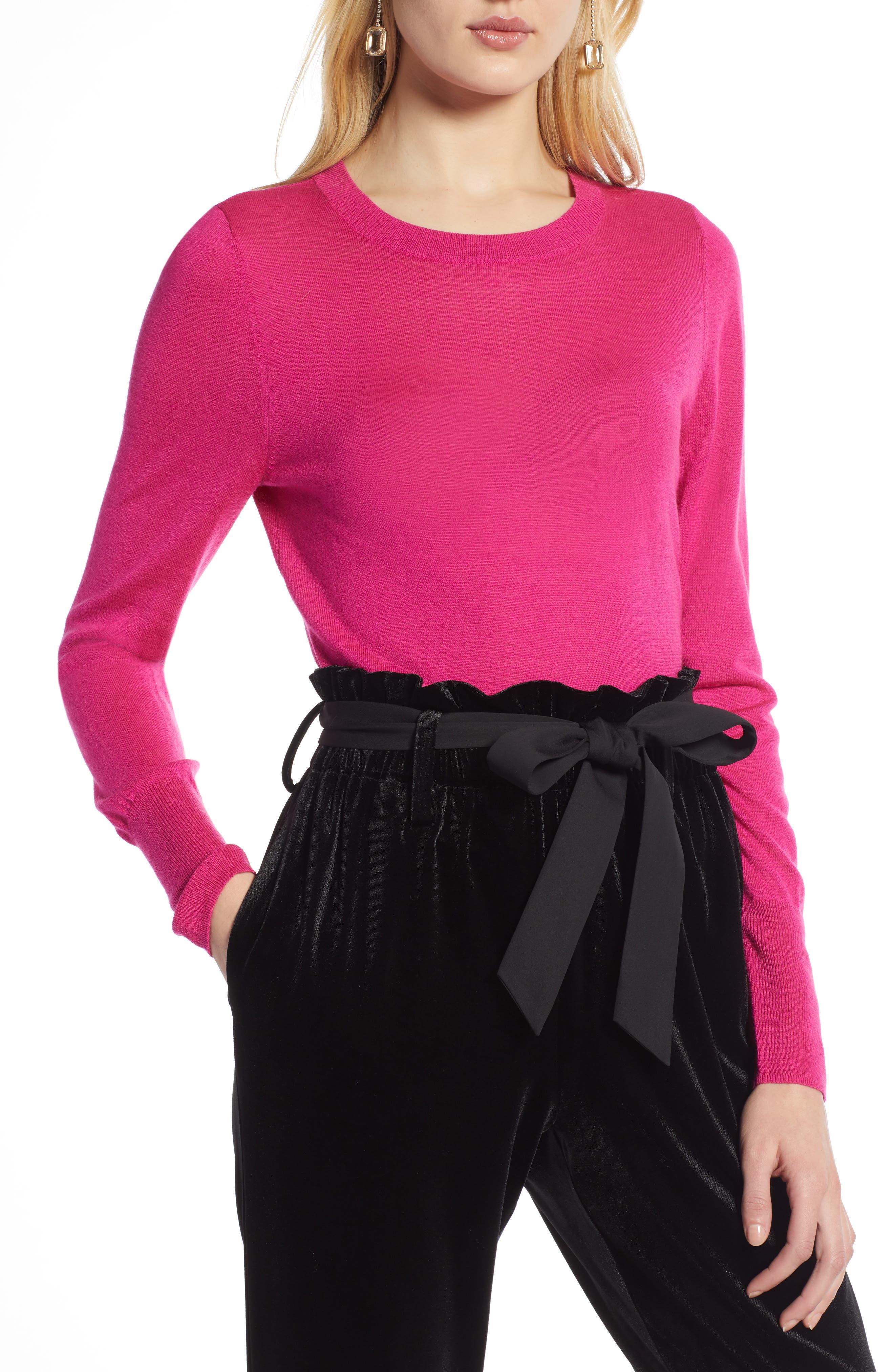 Petite Halogen Merino Wool Blend Sweater, Pink