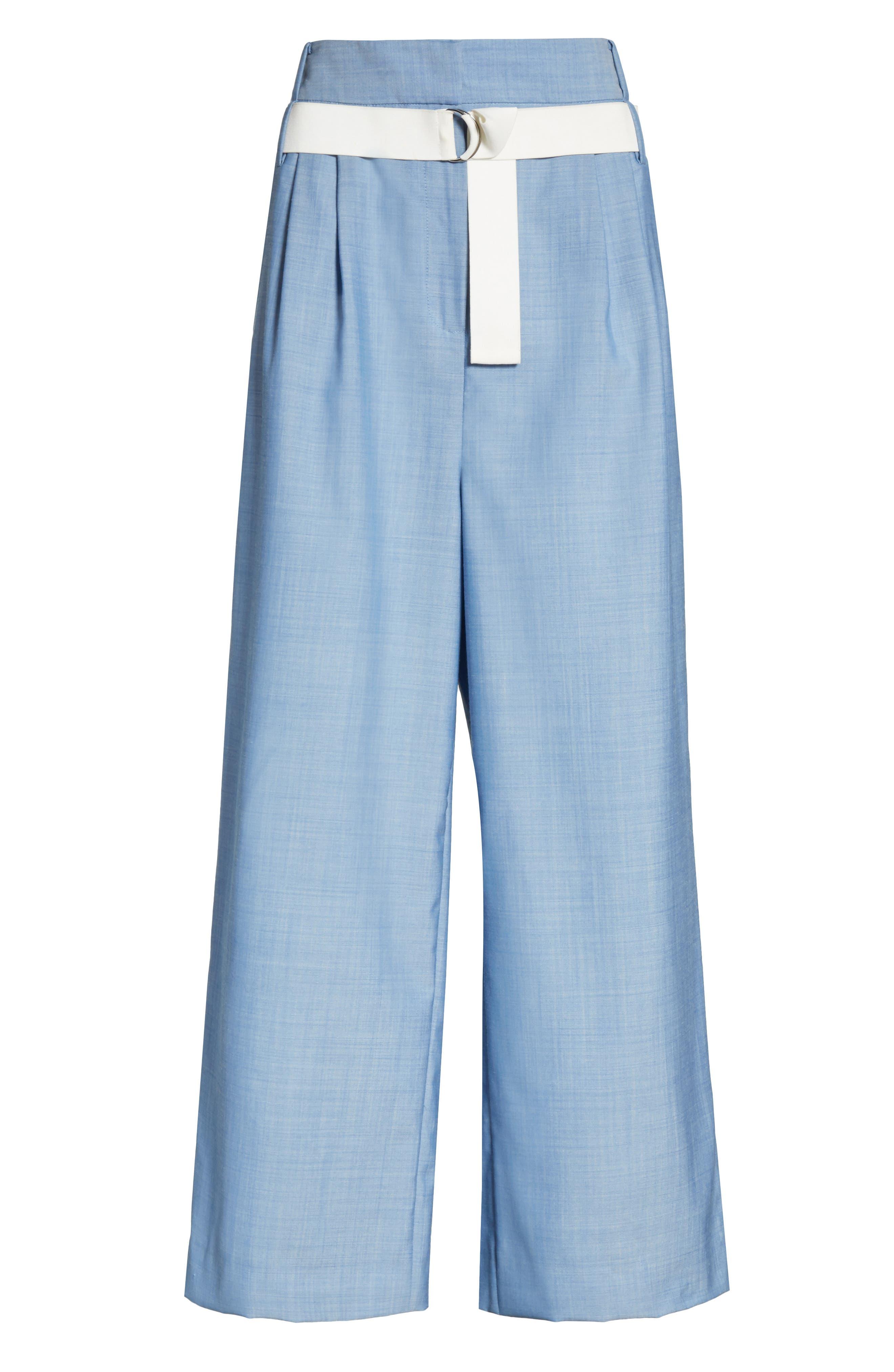 Belted Wide Leg Crop Pants,                             Alternate thumbnail 6, color,