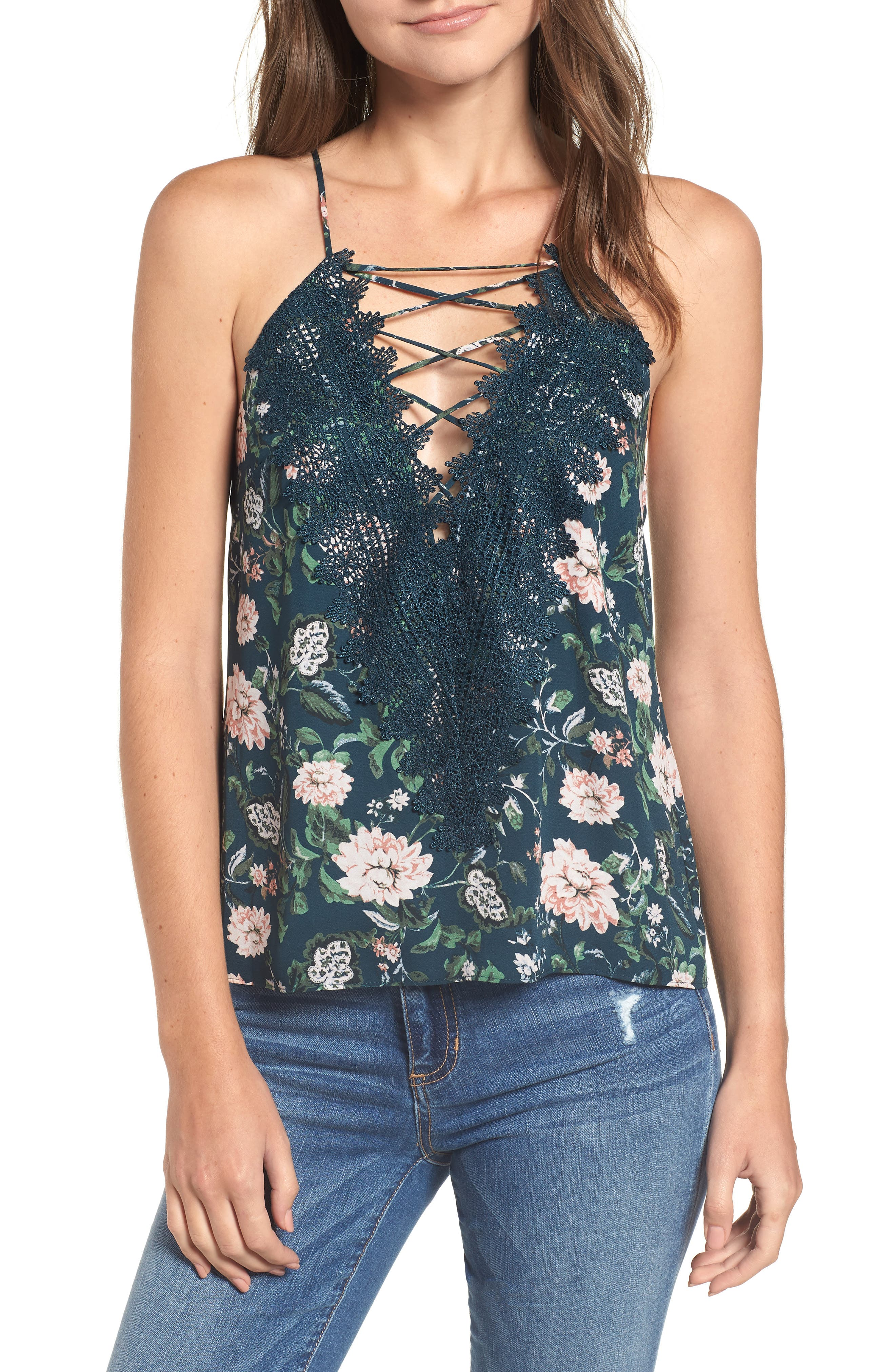 Posie Strappy Camisole,                         Main,                         color, DUSTY TEAL FLORAL