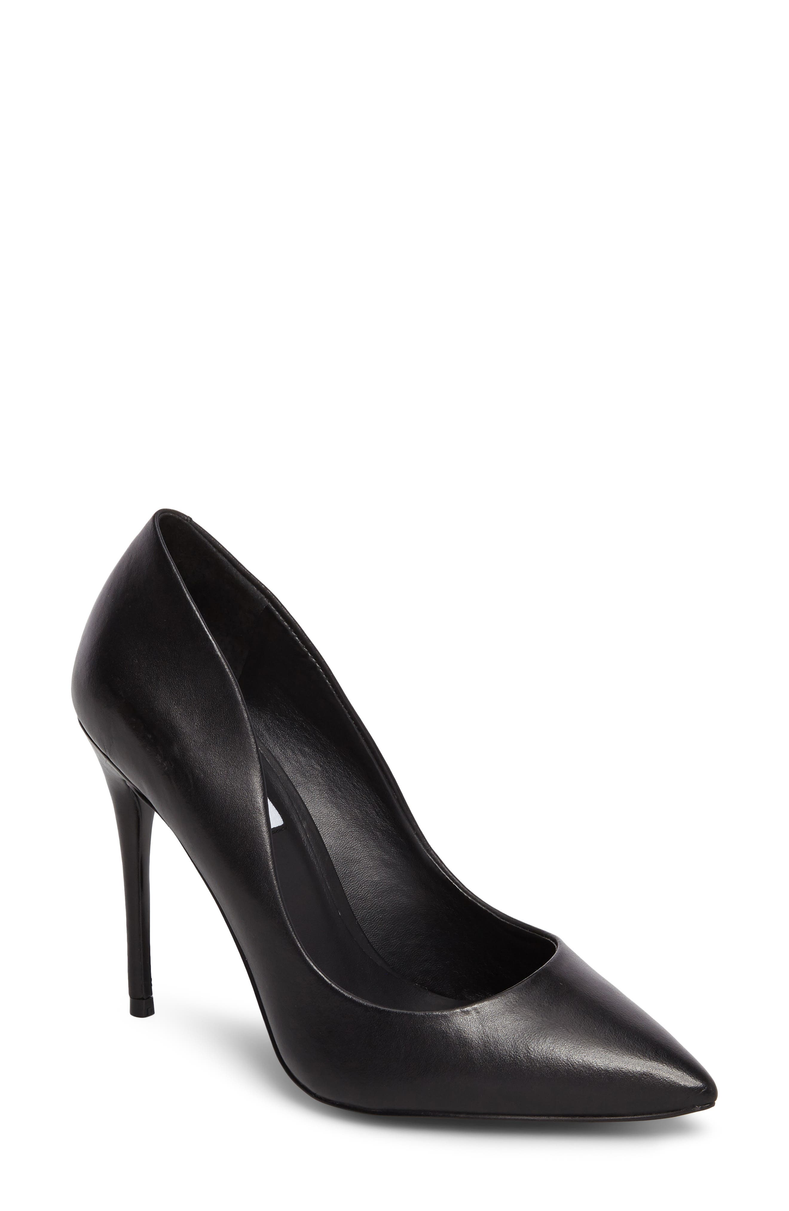 Daisie Pointy-Toe Pump,                             Main thumbnail 1, color,                             BLACK LEATHER