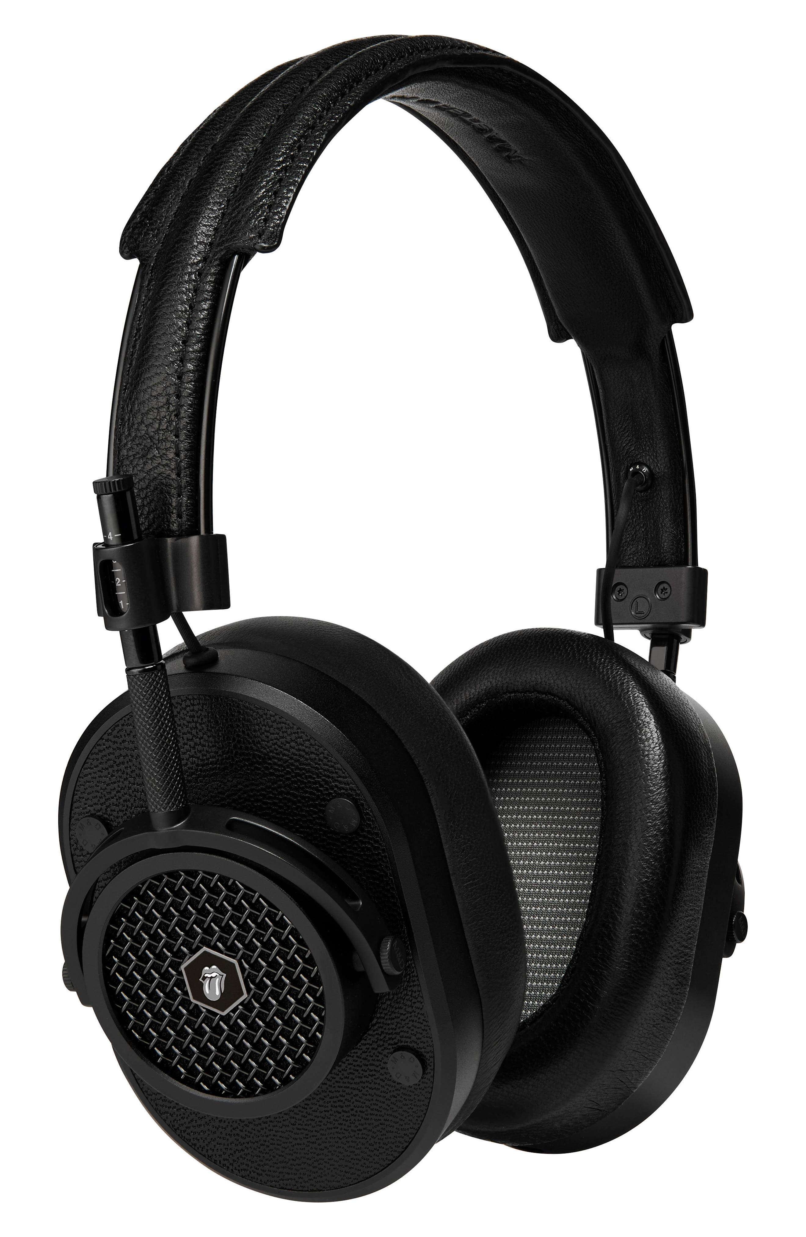 MH40 Leather Over Ear Headphones,                         Main,                         color, ROLLING STONE BLACK