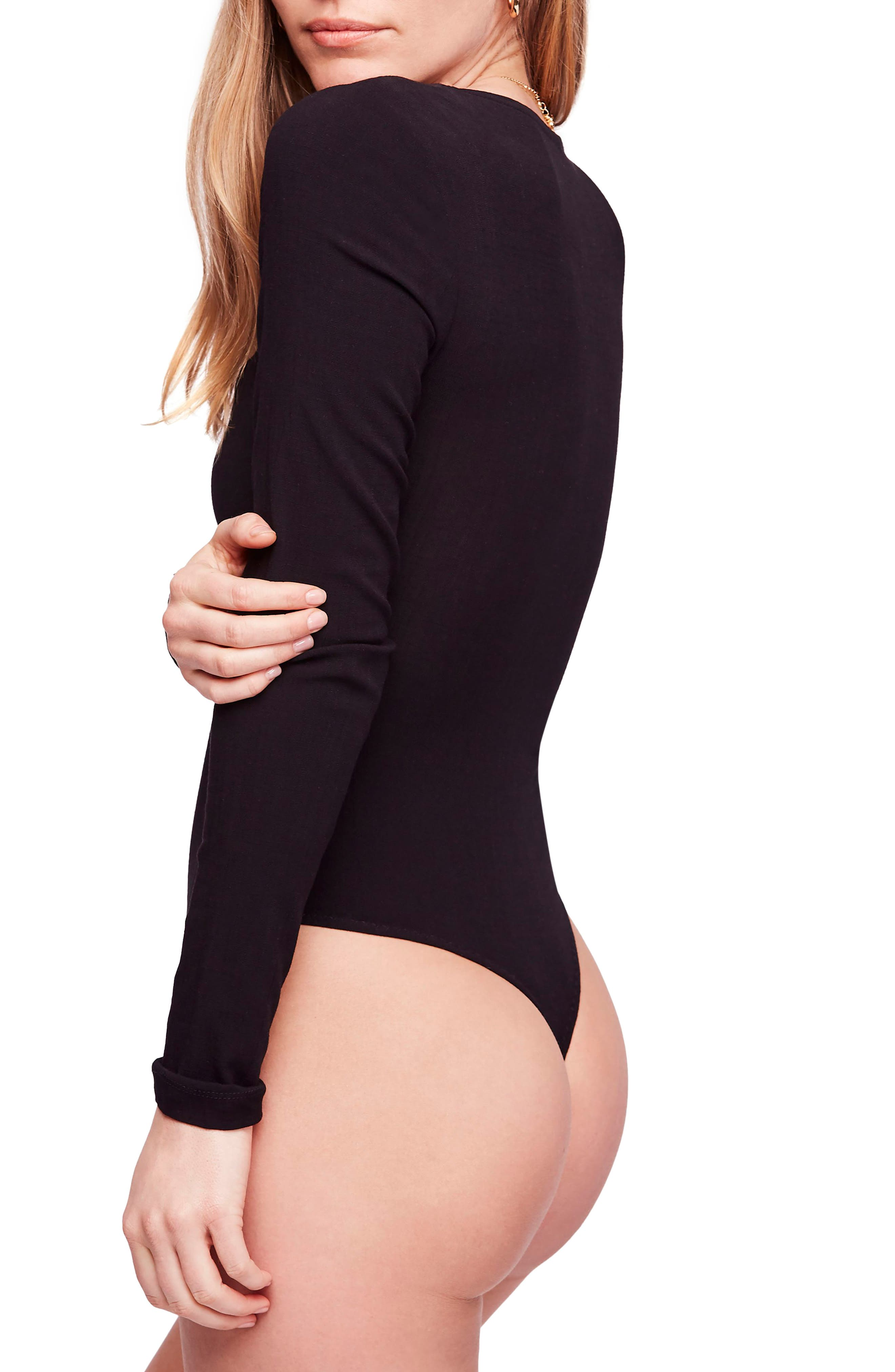 Zoe Thong Bodysuit,                             Alternate thumbnail 3, color,                             BLACK