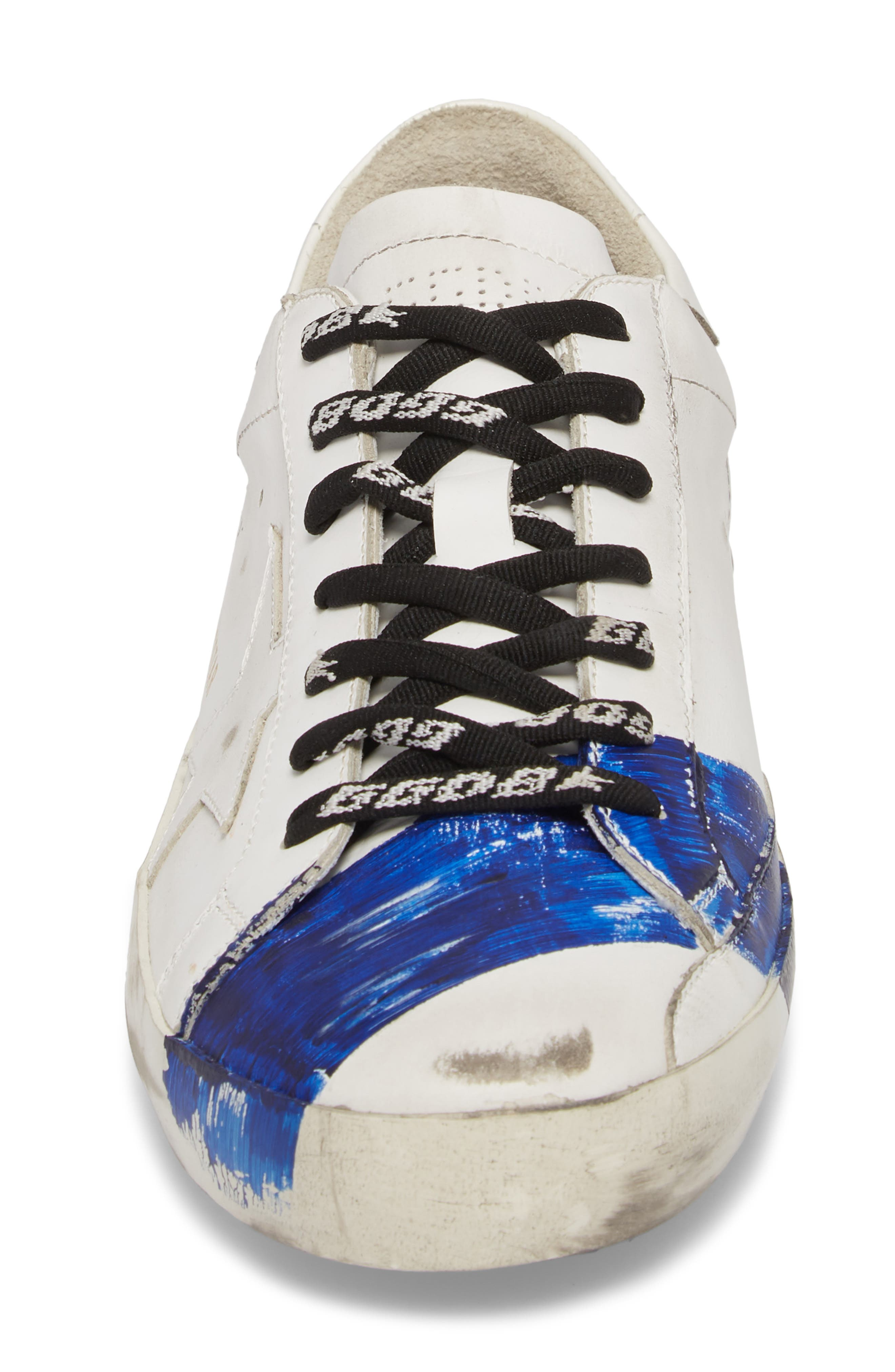 Superstar Distressed Sneaker,                             Alternate thumbnail 4, color,                             WHITE-BLUE STRIPE
