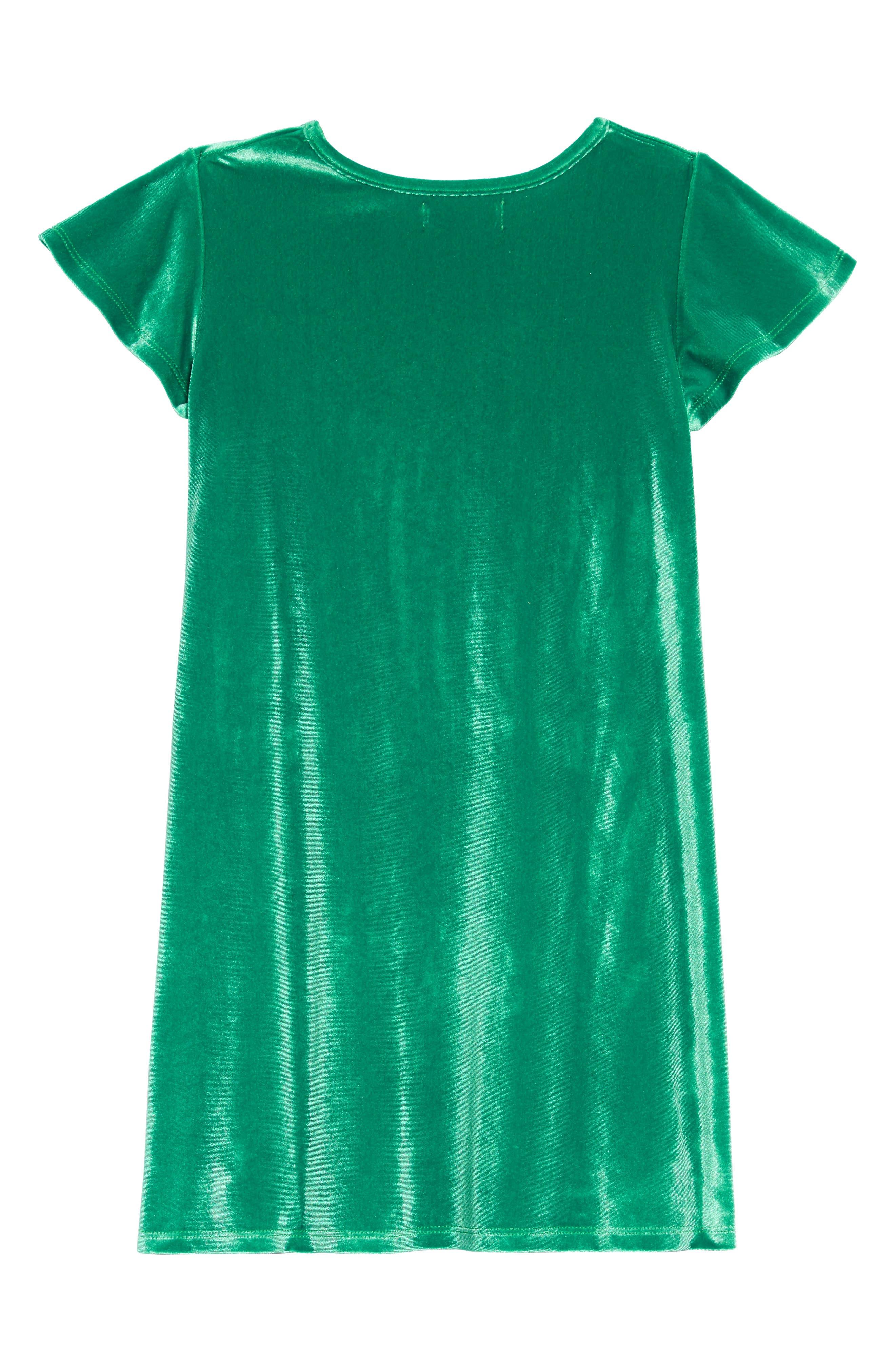 Velvet Ruffle Dress,                             Alternate thumbnail 2, color,                             GREEN GOLF