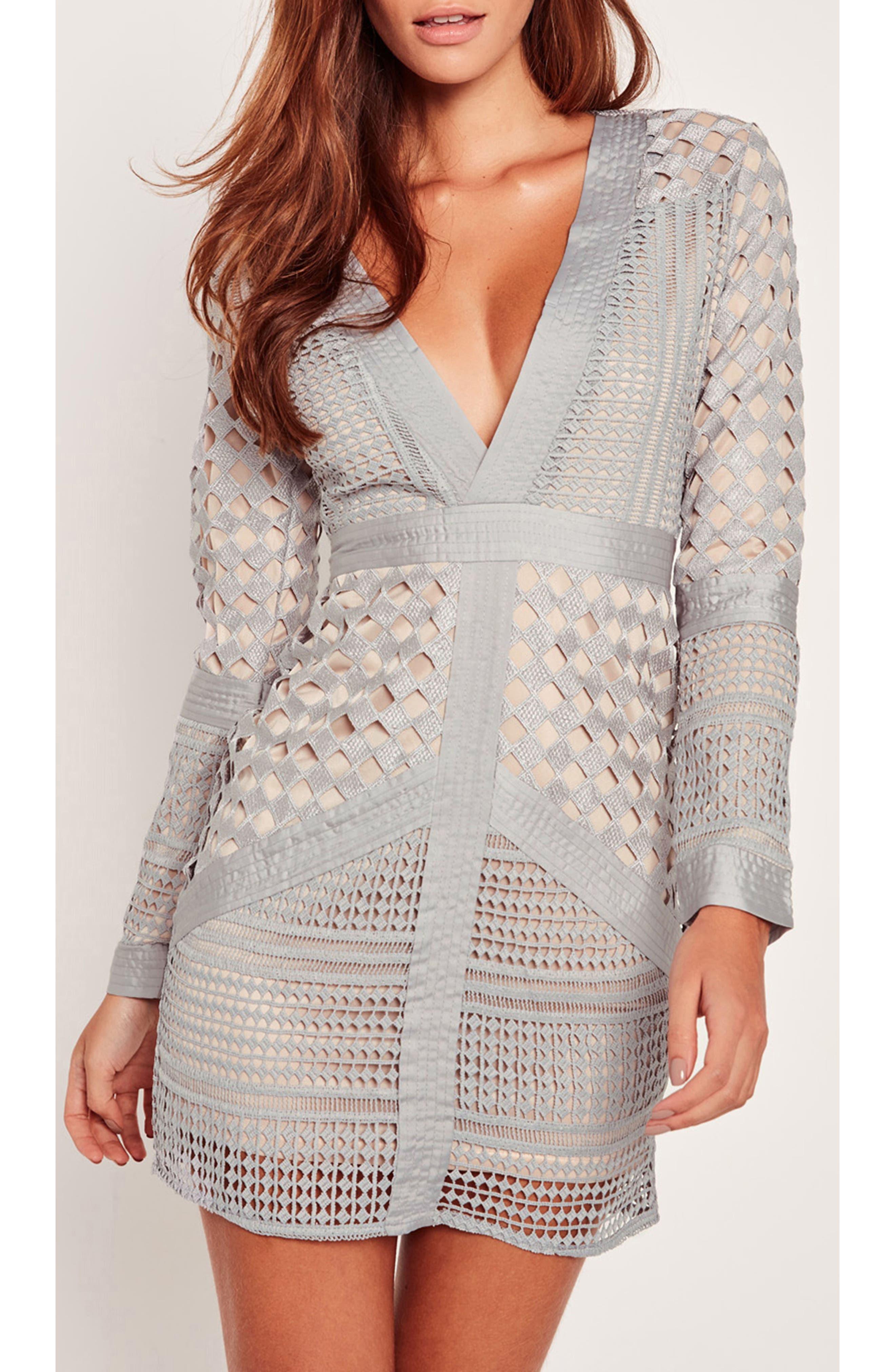Lace Body-Con Dress,                             Alternate thumbnail 4, color,                             060