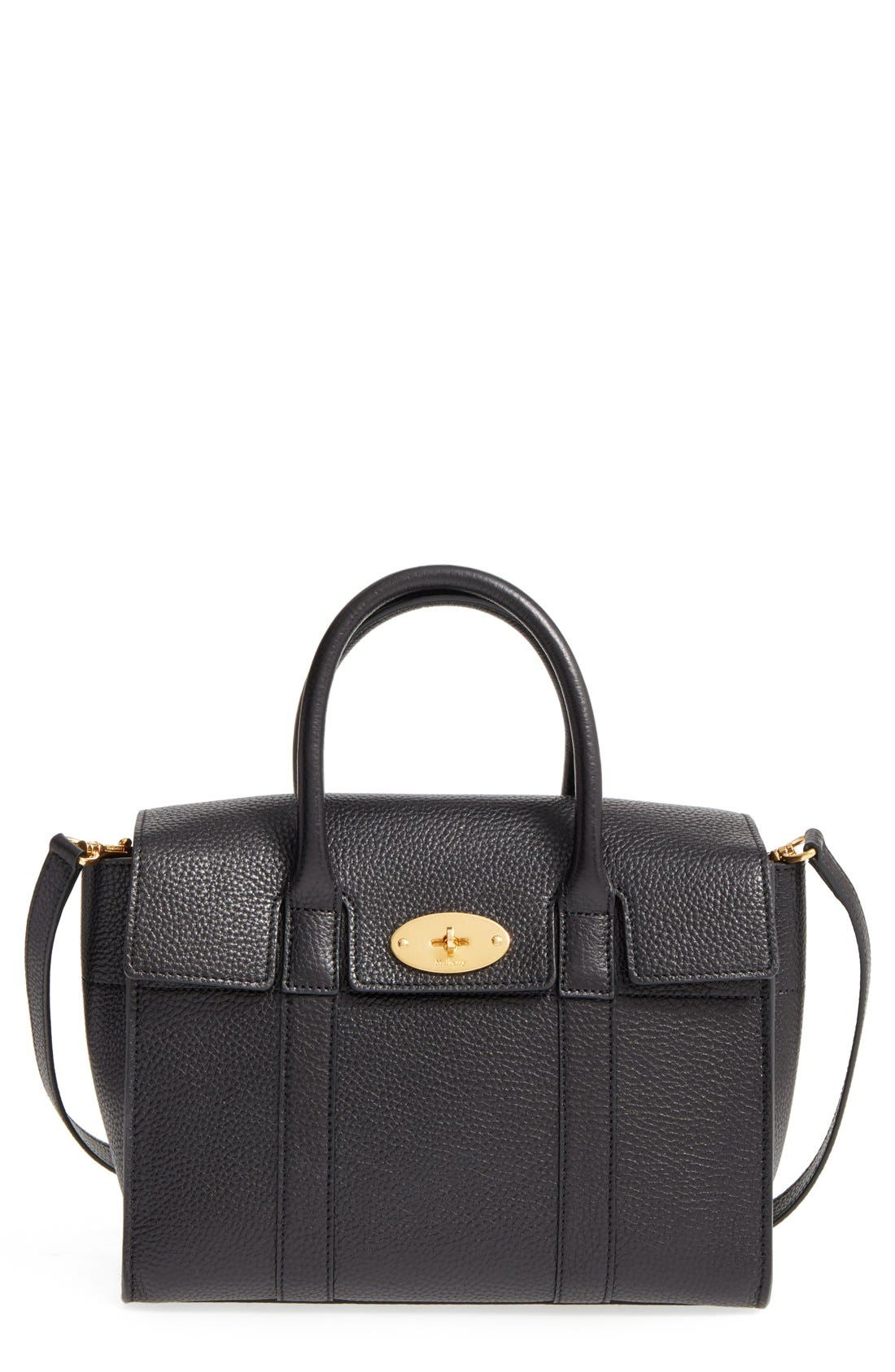 'Small Bayswater' Leather Satchel, Main, color, 001