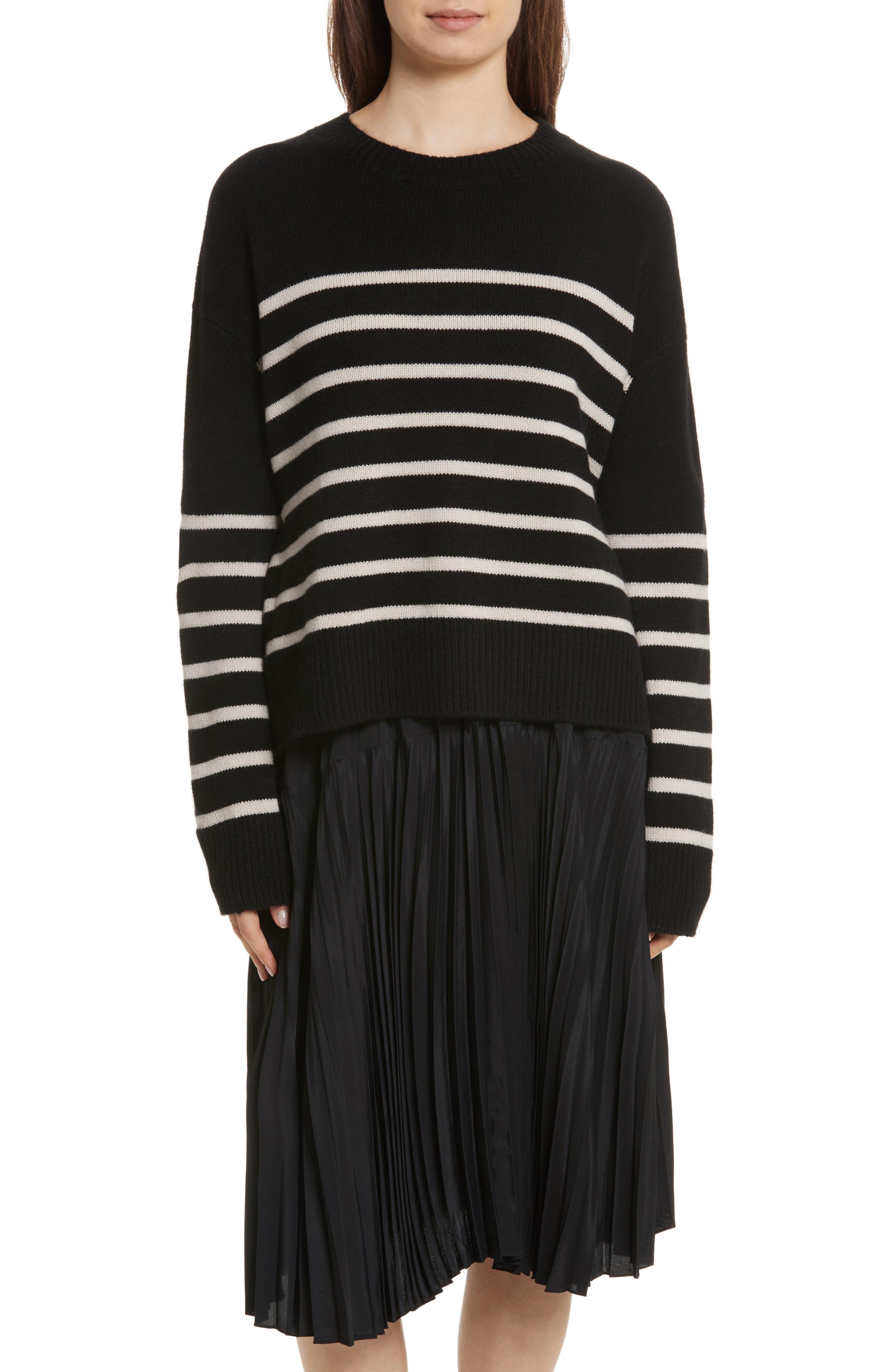 Cashmere Stripe Boxy Crew Sweater,                             Main thumbnail 1, color,                             006