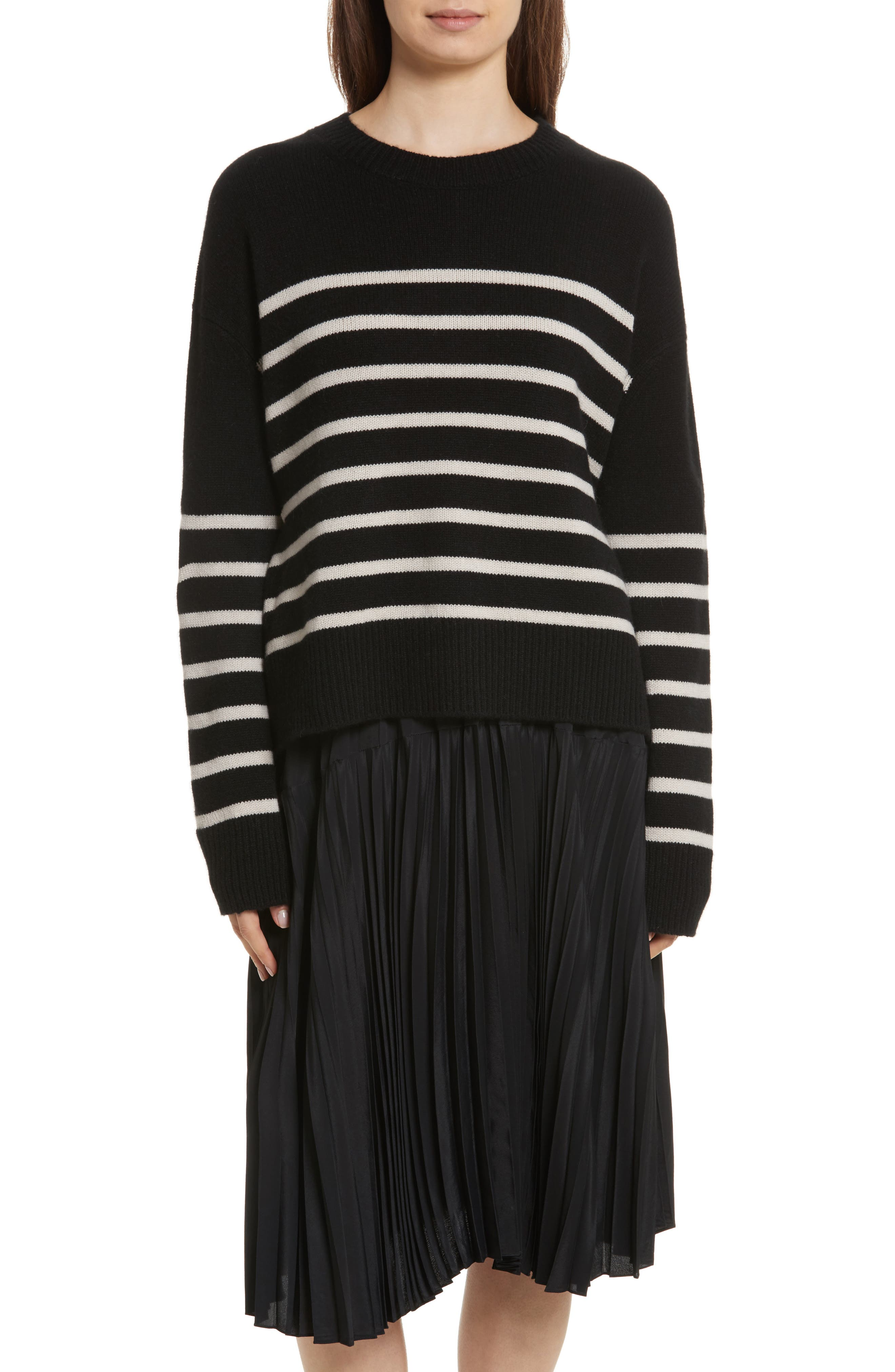 Cashmere Stripe Boxy Crew Sweater,                         Main,                         color, 006