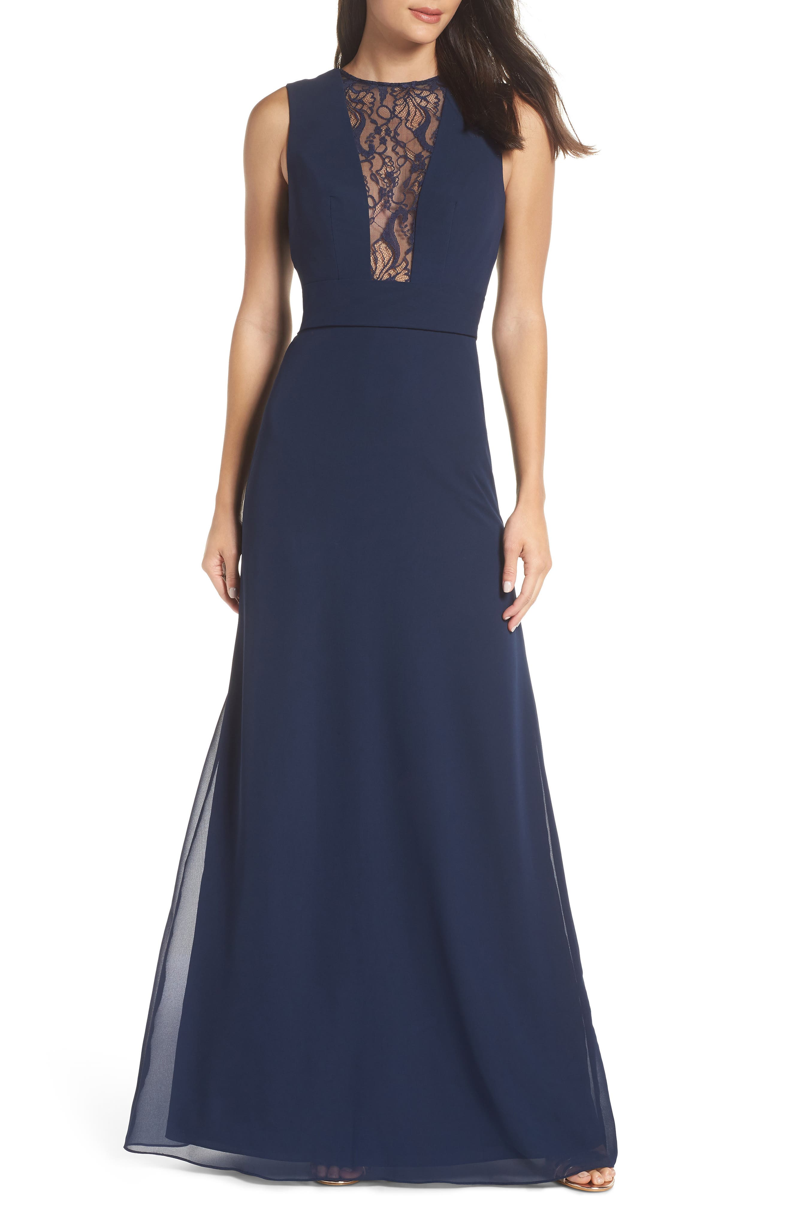 HAYLEY PAIGE OCCASIONS Lace Inset Chiffon Gown, Main, color, NAVY