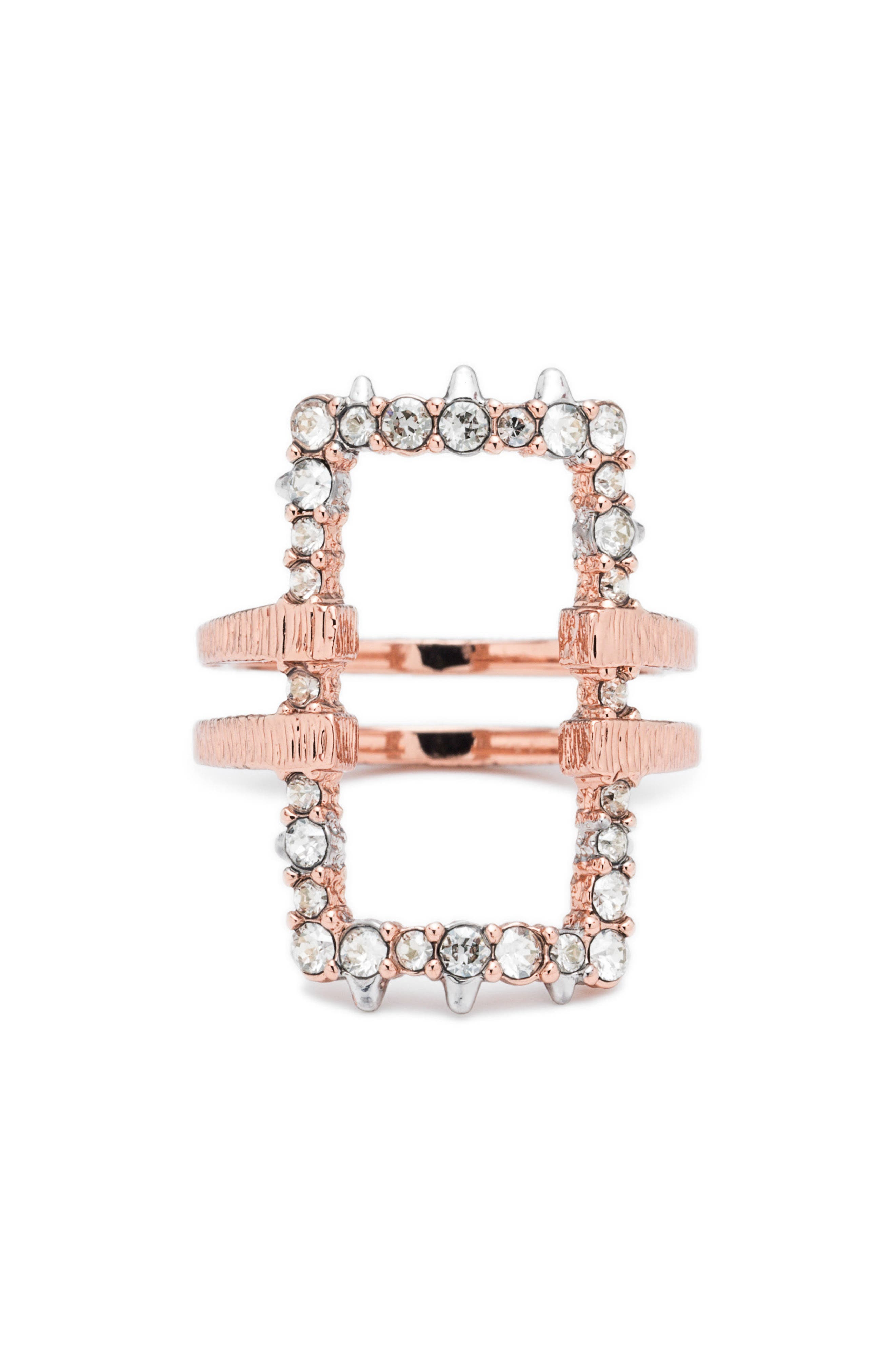 Elements Rectangle Ring,                             Main thumbnail 1, color,                             ROSE GOLD