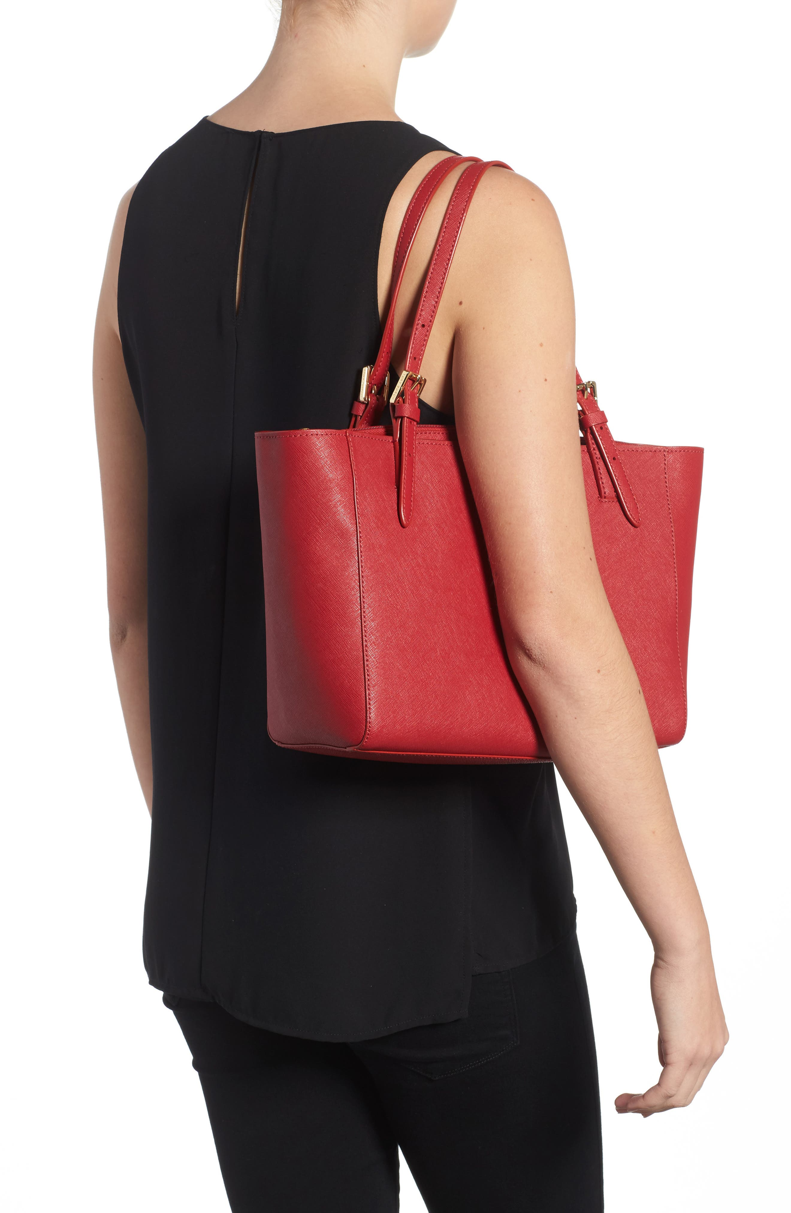 'Small York' Saffiano Leather Buckle Tote,                             Alternate thumbnail 30, color,
